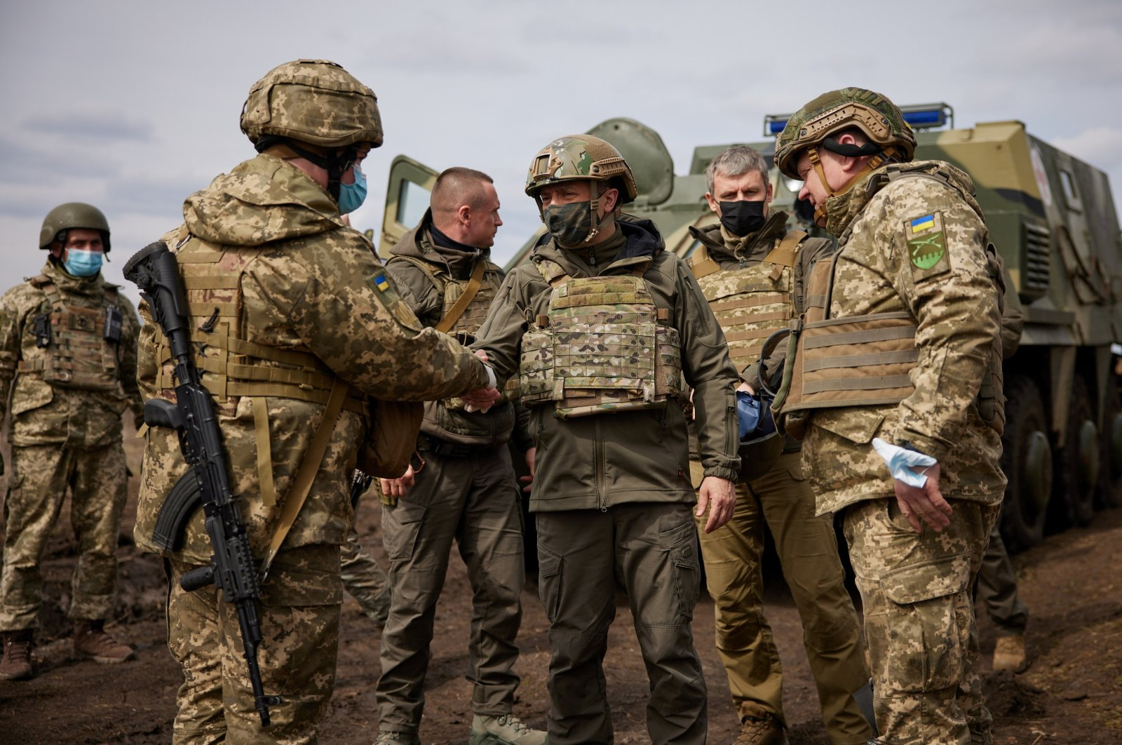 Ukraine's President Volodymyr Zelenskiy visits Ukraine's armed forces near the frontline with Russian-backed separatists during his working trip in the Donbass region of Ukraine, April 8, 2021. (Reuters Photo)