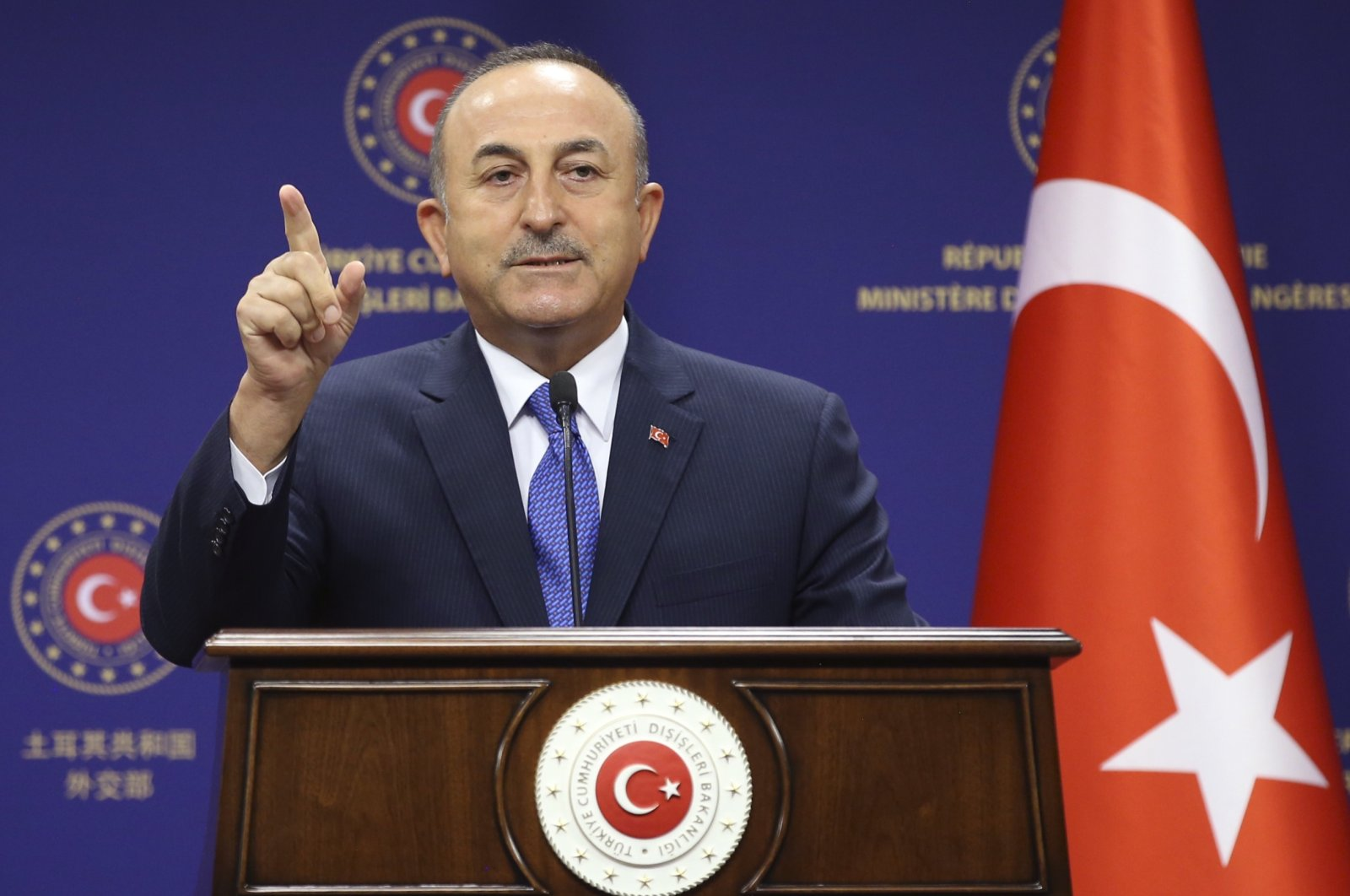 Foreign Minister Mevlüt Çavuşoğlu speaks to the media after talks with German Foreign Minister Heiko Maas, in Ankara, Turkey, Aug. 25, 2020. (AP File Photo)