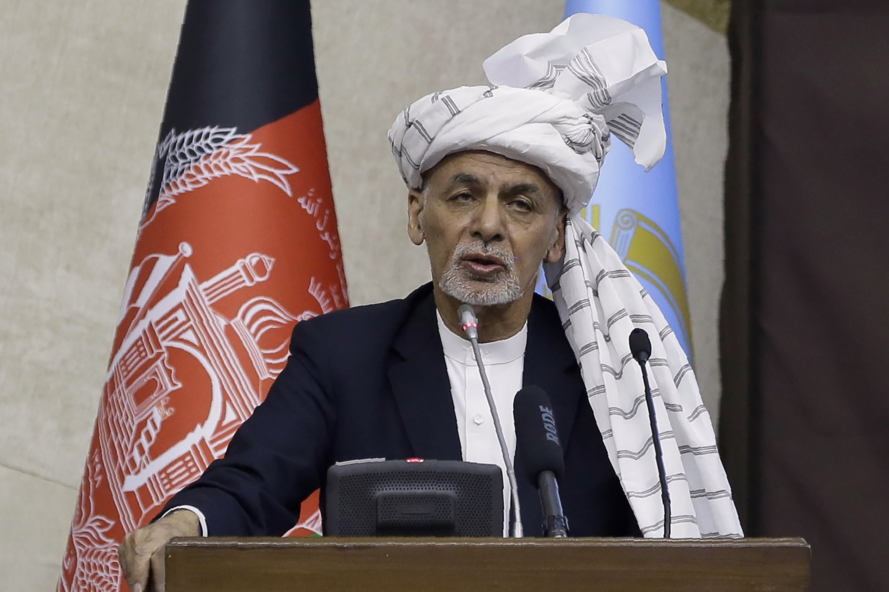 Afghan President Ashraf Ghani speaks during the opening ceremony of the new legislative session of the Parliament in Kabul, Afghanistan, March 6, 2021.(AP Photo)