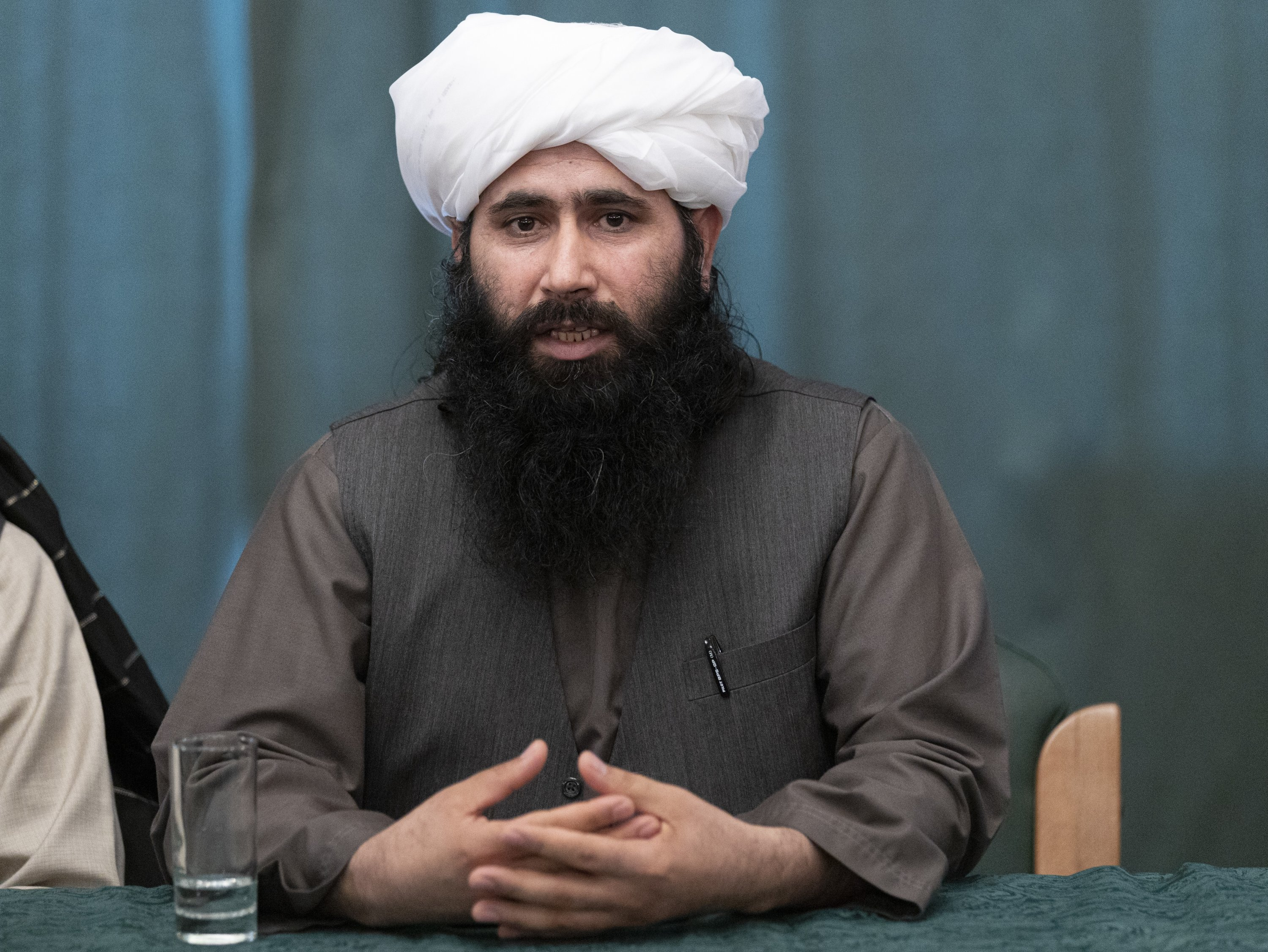 Spokesperson for the Taliban's political office Mohammad Naeem speaksduring a news conference in Moscow, Russia, March 19, 2021.(AP Photo)
