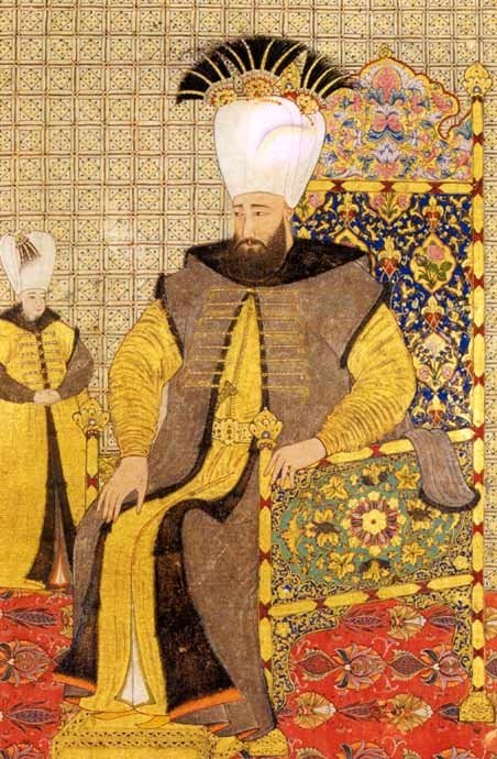 A miniature by Abdülcelil Levni from the Topkapı Palace Collection shows Sultan Ahmed III sitting on his throne.