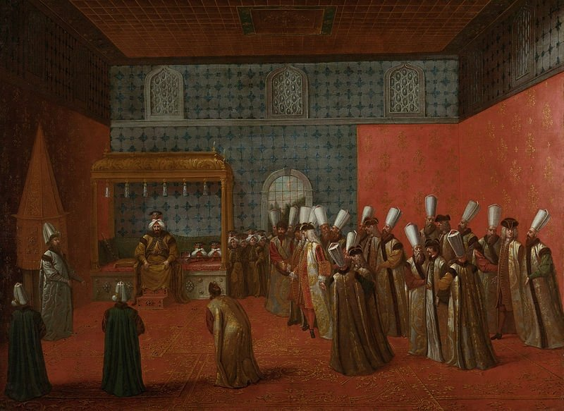 """Flemish painter Jean Baptiste Vanmour's oil canvas """"Ambassador Cornelis Calkoen at his Audience with Sultan Ahmed III,"""" at the Rijksmuseum, Amsterdam, the Netherlands."""