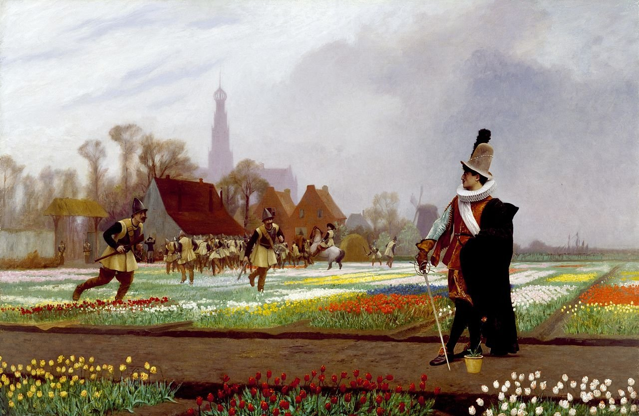 """""""The Tulip Folly"""" by French artist Jean-Leon Gerome shows a conceptual scene from the historical 'Tulipomania' in 17th-century Holland."""