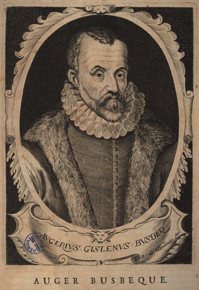 An old etching showing Ambassador Ogier Ghiselin de Busbecq.