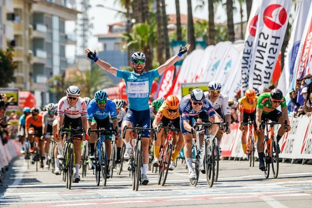 Deceuninck-Quick Step'sBritish sprinter Mark Cavendish celebrates winning the 3rd stage of Presidential Cycling Tour of Turkey, in Alanya, southern Turkey, April 13, 2021. (DHA Photo)