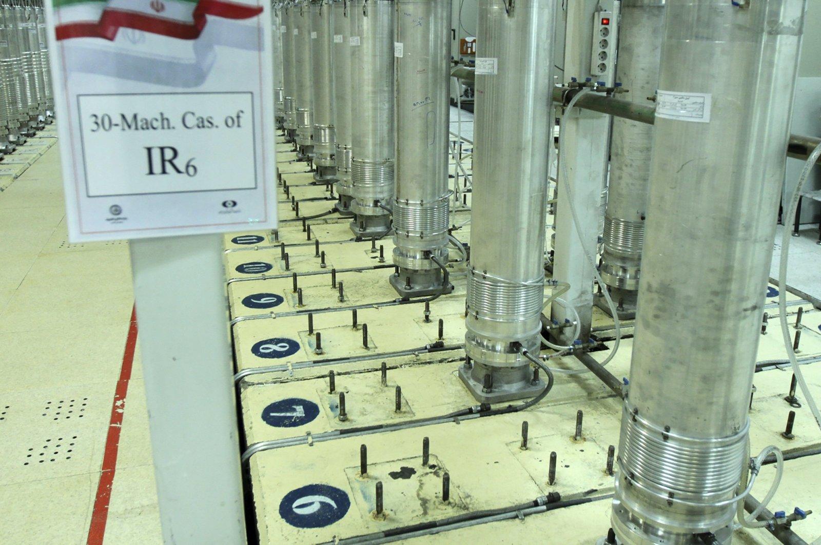 Centrifuge machines in the Natanz uranium enrichment facility in Natanz, central Iran, Nov. 5, 2019. (Atomic Energy Organization of Iran/AP Photo)