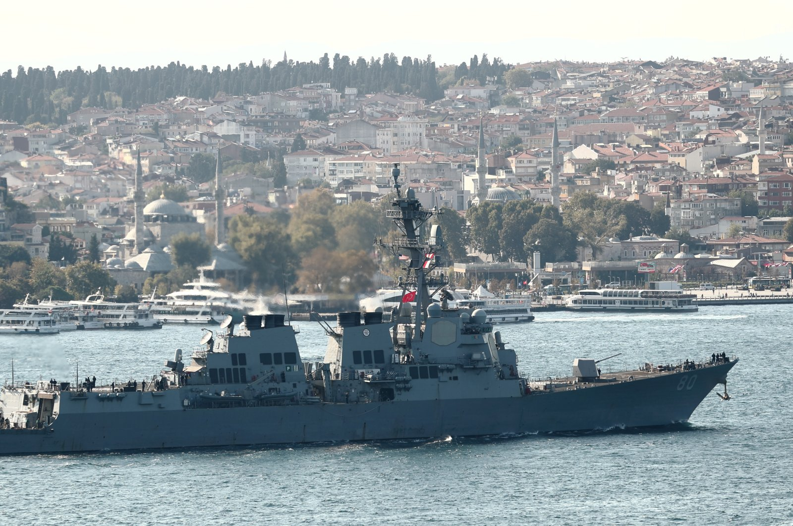 The U.S. Navy Arleigh-Burke class destroyer USS Roosevelt sets sail in the Bosporus, returning from the Black Sea, in Istanbul, Turkey, Oct. 2, 2020. (Reuters Photo)