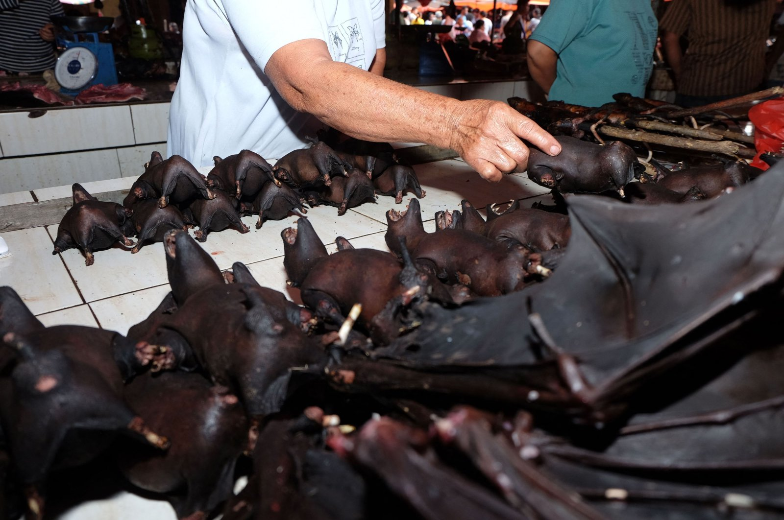 A vendor sells bats at the Tomohon Extreme Meat market on Sulawesi Island, Indonesia, Feb. 8, 2020.  (AFP Photo)