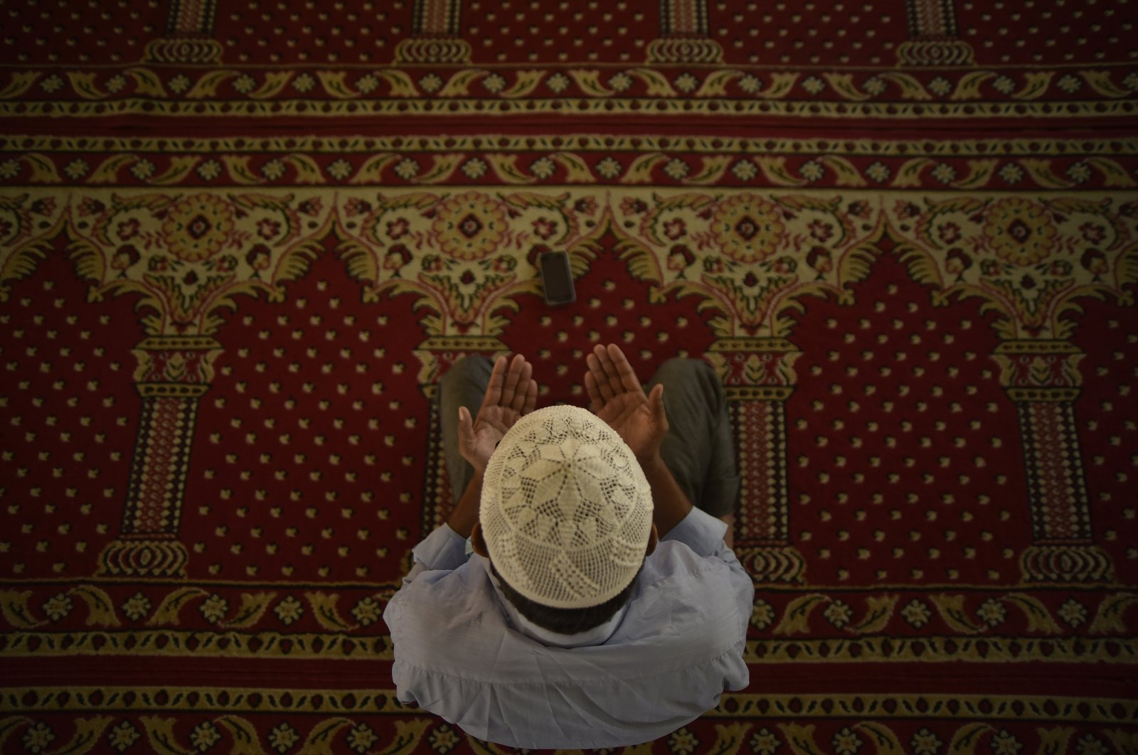 A Nepalese Muslim performs the ritual Friday prayer in a mosque at Nepal Jame Masjid, Kathmandu, Nepal, Dec. 18, 2020. (NurPhoto via Getty Images)
