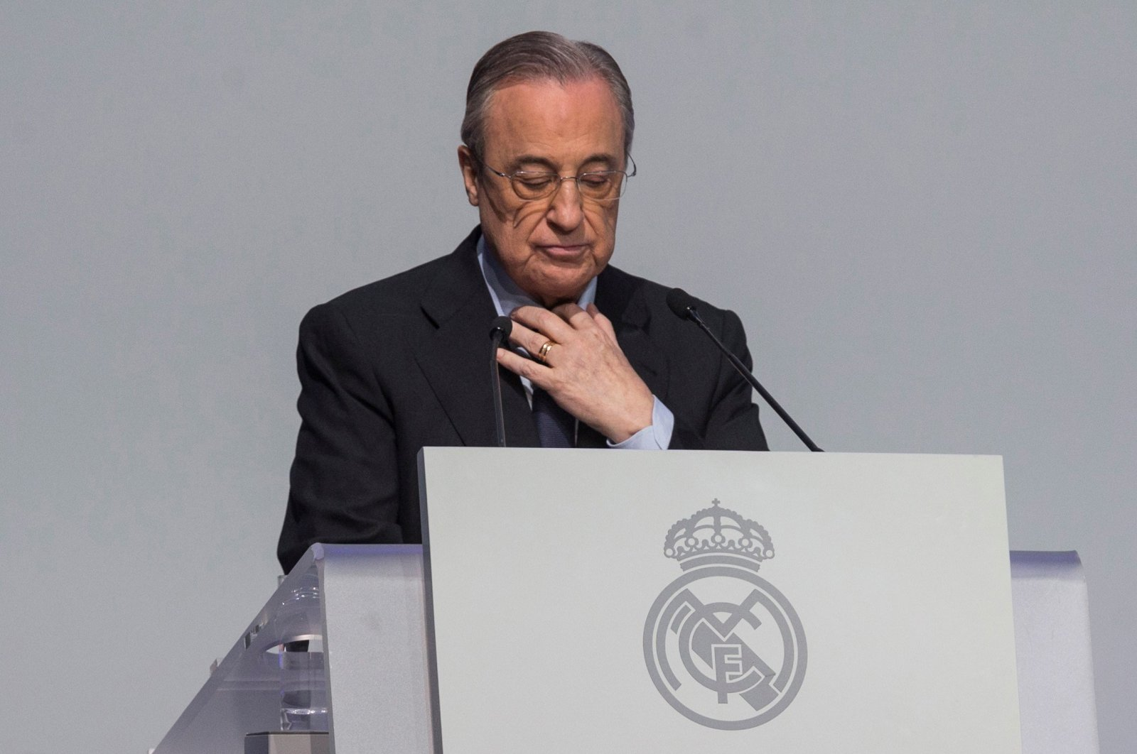Real Madrid president Florentino Perez delivers a speech during an event in Madrid, Spain, Nov. 3, 2018.