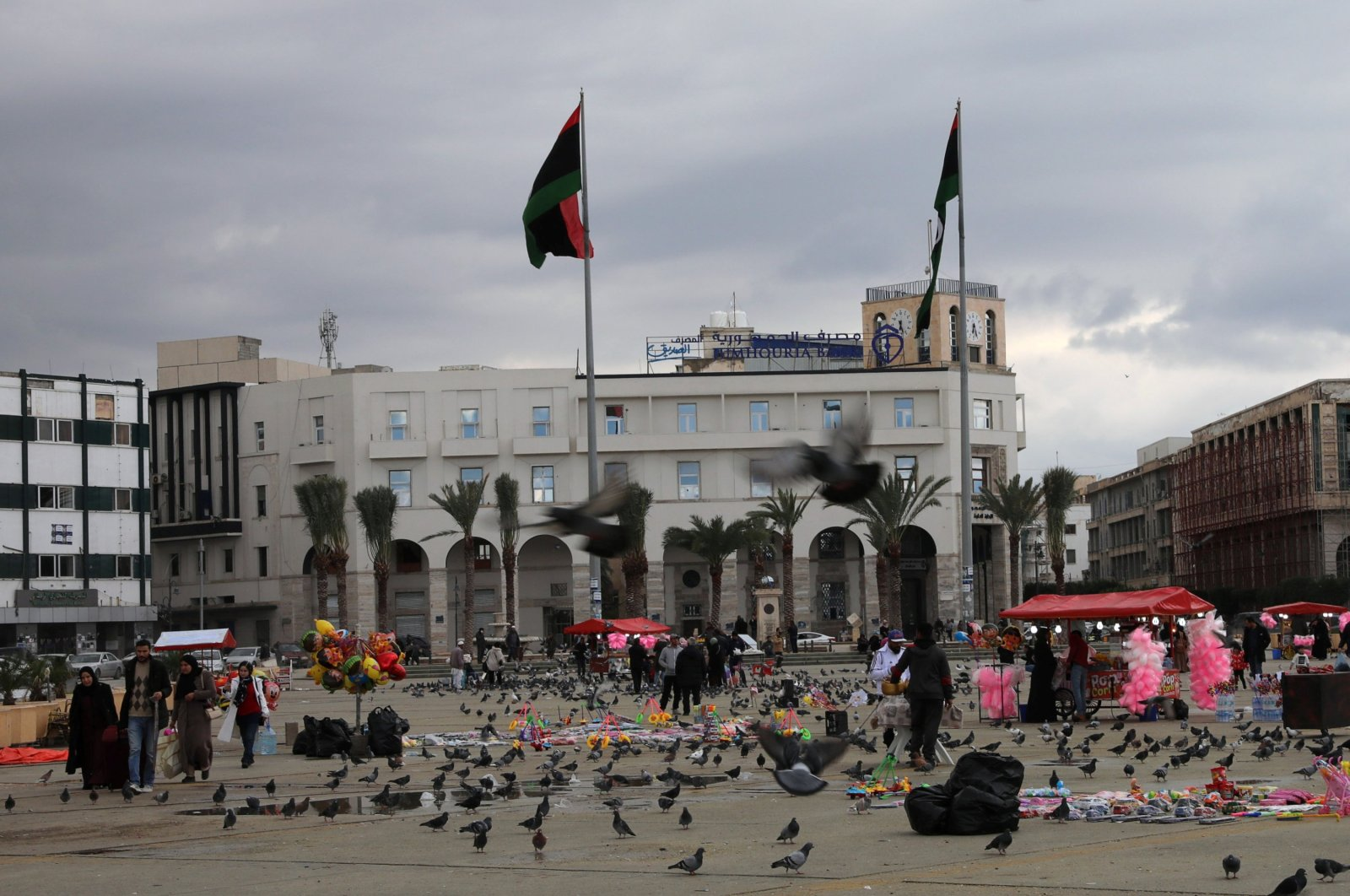 People are seen at the Martyrs' Square, Tripoli, Libya, Jan. 16, 2020. (Reuters Photo)
