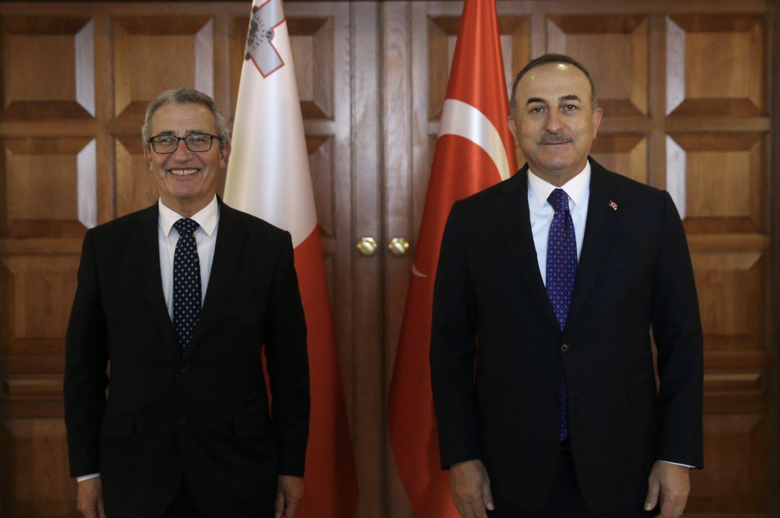 Turkish Foreign Minister Mevlüt Çavuşoğlu (R) meets with his Maltese counterpart Evarist Bartolo in the capital Ankara, Turkey, April 13, 2021. (AA Photo)