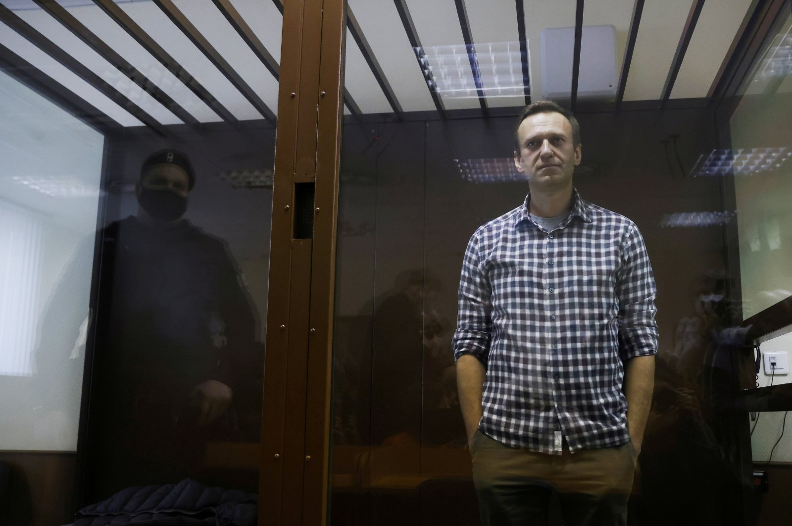 Russian opposition leader Alexei Navalny attends a court hearing in Moscow, Russia, Feb. 20, 2021. (Reuters Photo)
