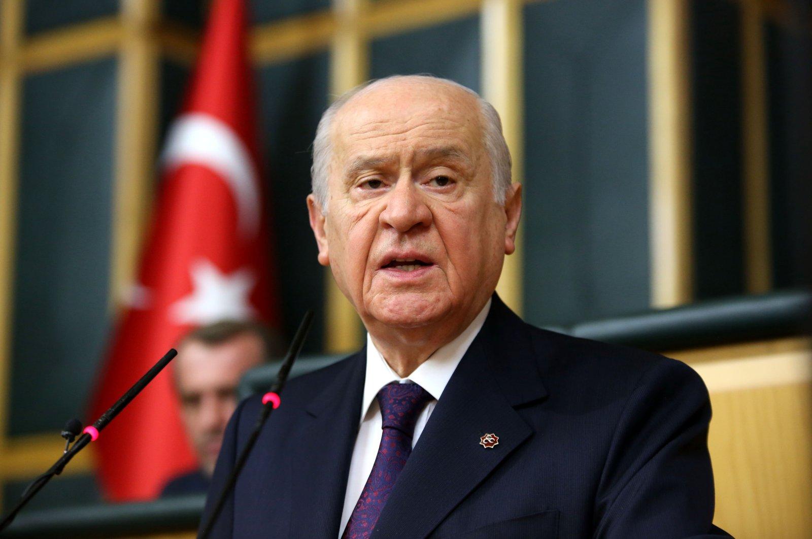 Nationalist Movement Party (MHP) leader Devlet Bahçeli speaks at his parliamentary group meeting in Ankara, Turkey, Dec. 6, 2018. (PHOTO BY ALI EKEYILMAZ)