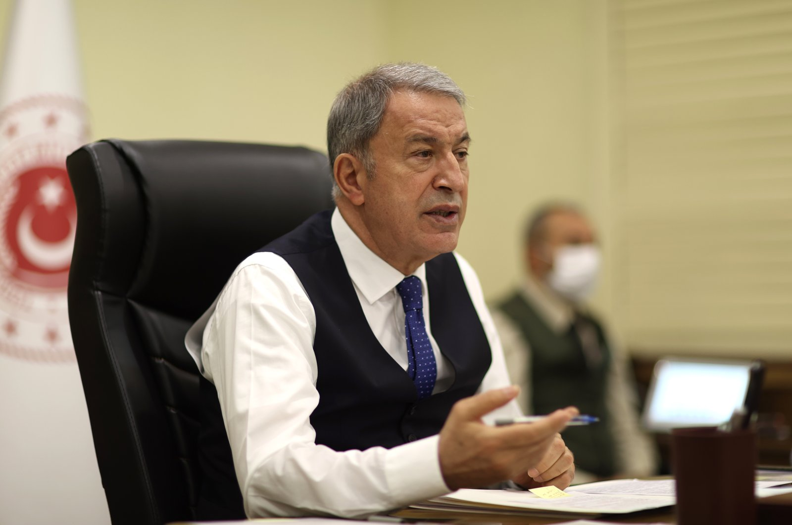 Defense Minister Hulusi Akar holds a videoconference with force commanders, Ankara, Turkey, April 13, 2021 (AA Photo)