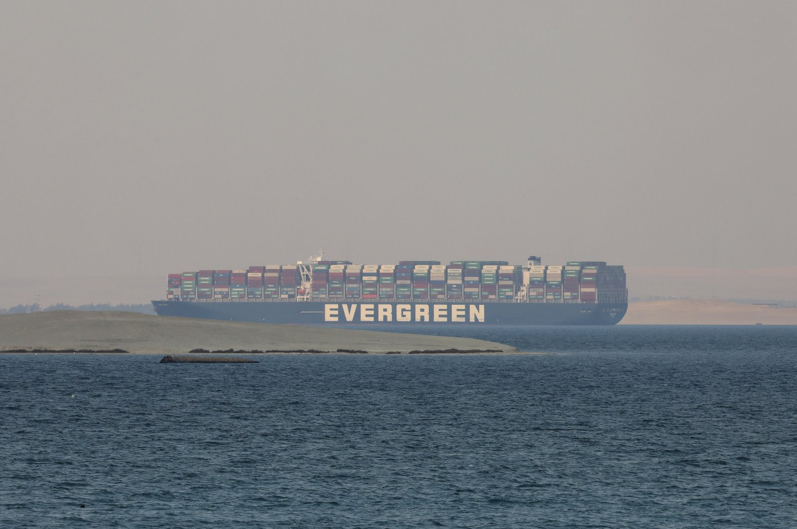 The Ever Given, a Panama-flagged cargo ship, in Great Bitter Lake, Egypt, March 30, 2021. (AP Photo)