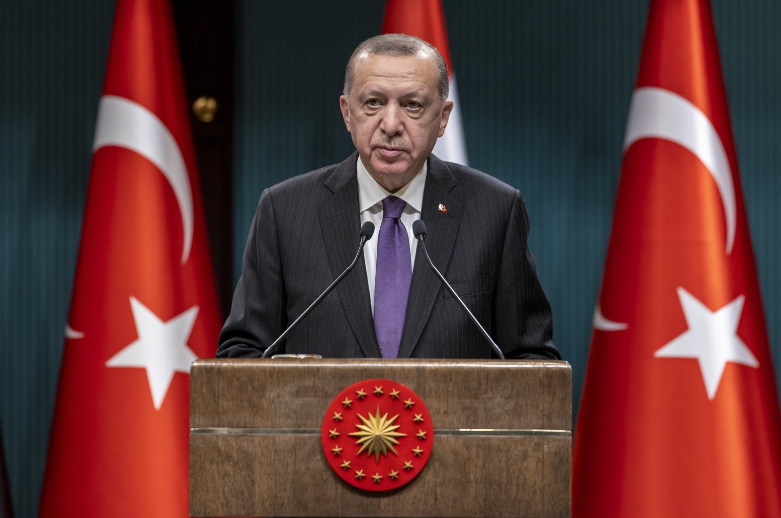 President Recep Tayyip Erdoğan speaks in a news conference in the Presidential Complex in Ankara, Istanbul, Dec. 18, 2020. (AA File Photo)