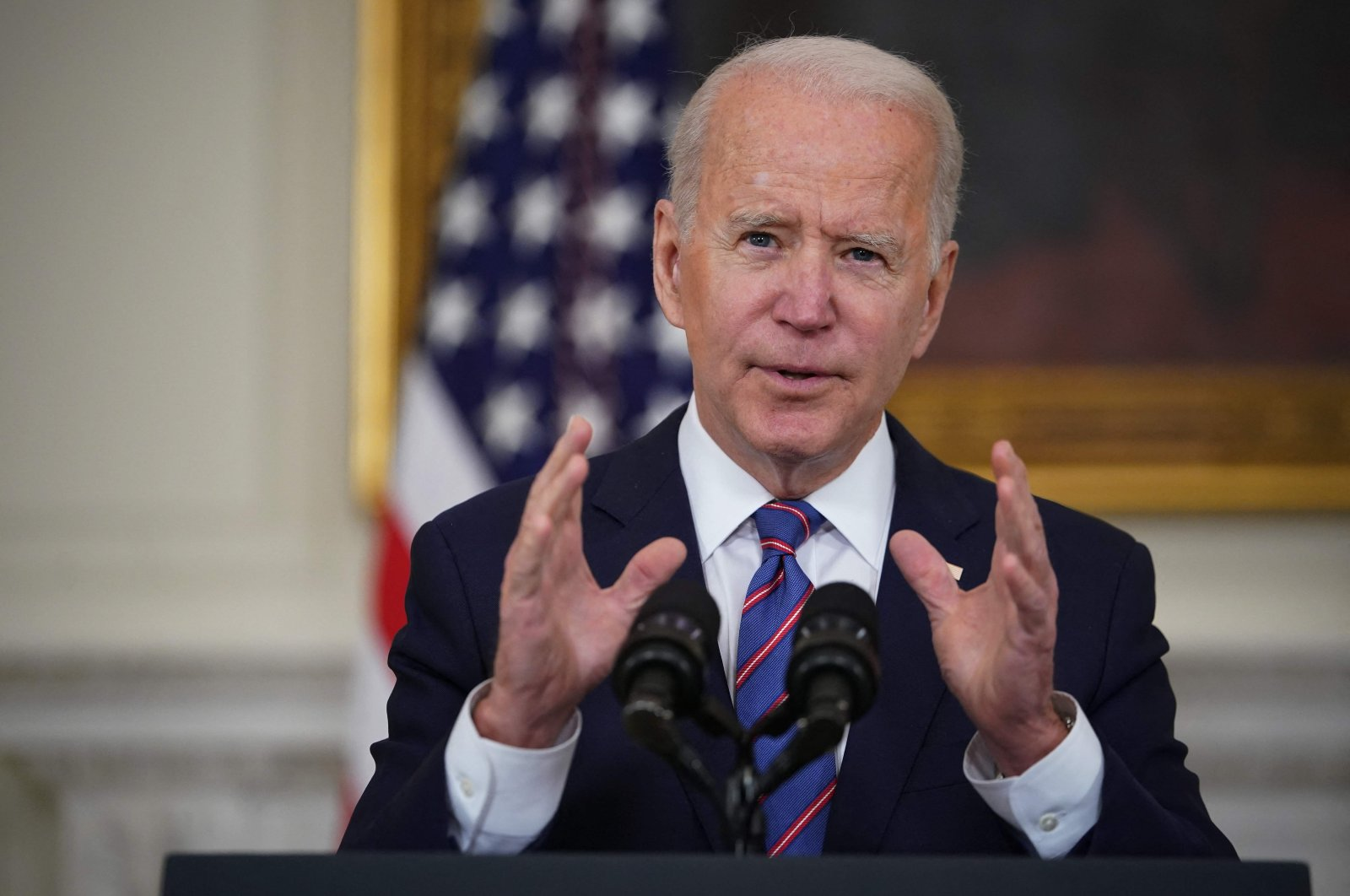 U.S. President Joe Biden speaks about the March jobs report in the State Dining Room of the White House in Washington, U.S., April 2, 2021. (AFP Photo)