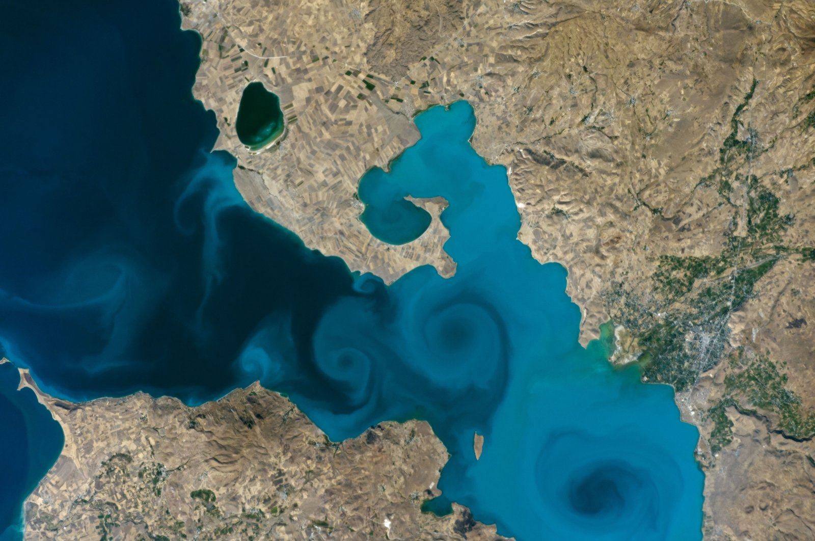 Turkey's Lake Van seen from space in a photo taken by astronaut Kate Rubins from the International Space Station orbiting Earth, Sept. 12, 2016. (Courtesy of NASA)