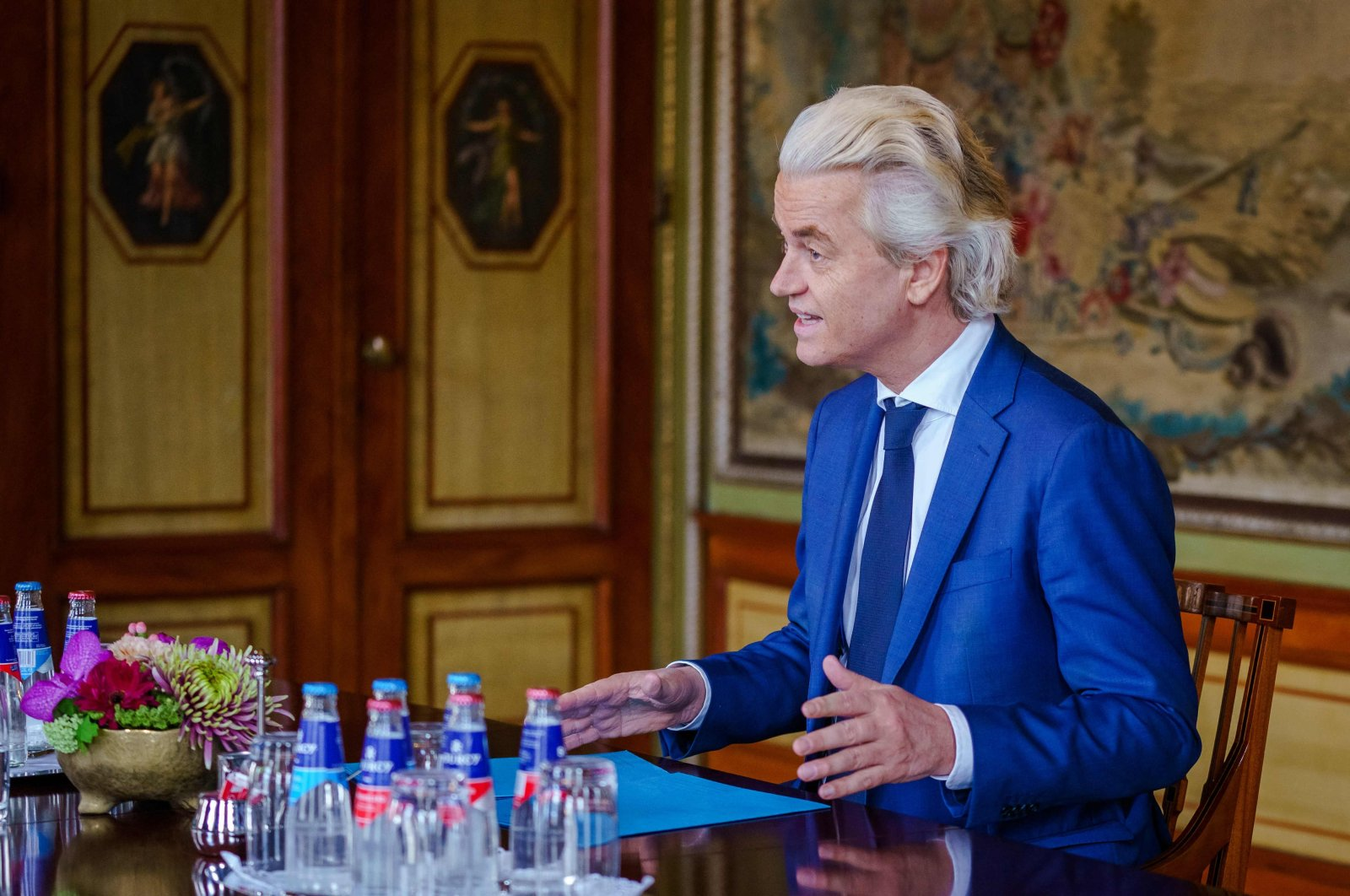 Dutch far-right Party for Freedom (PVV) leader Geert Wilders is received by Dutch informateur Herman Tjeenk Willink (not pictured) to discuss the constitution of a new government following the legislative elections, in the Lower House of the House of Representatives in The Hague, Netherlands, April 9, 2021. (AFP Photo)