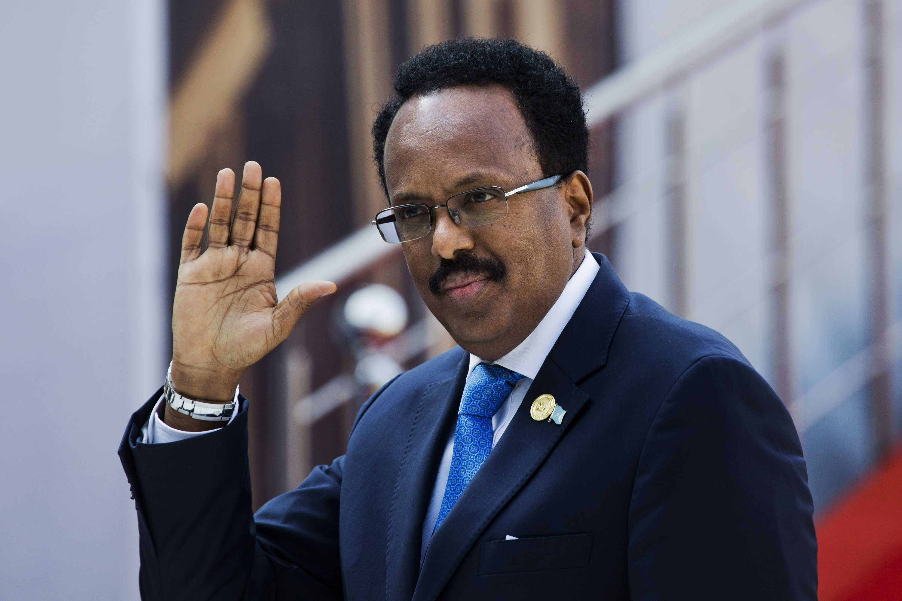 Somalia's President Mohamed Abdullahi Mohamed arrives for the swearing-in ceremony of South African President Cyril Ramaphosa at Loftus Versfeld stadium in Pretoria, South Africa, May 25, 2019. (AP Photo)