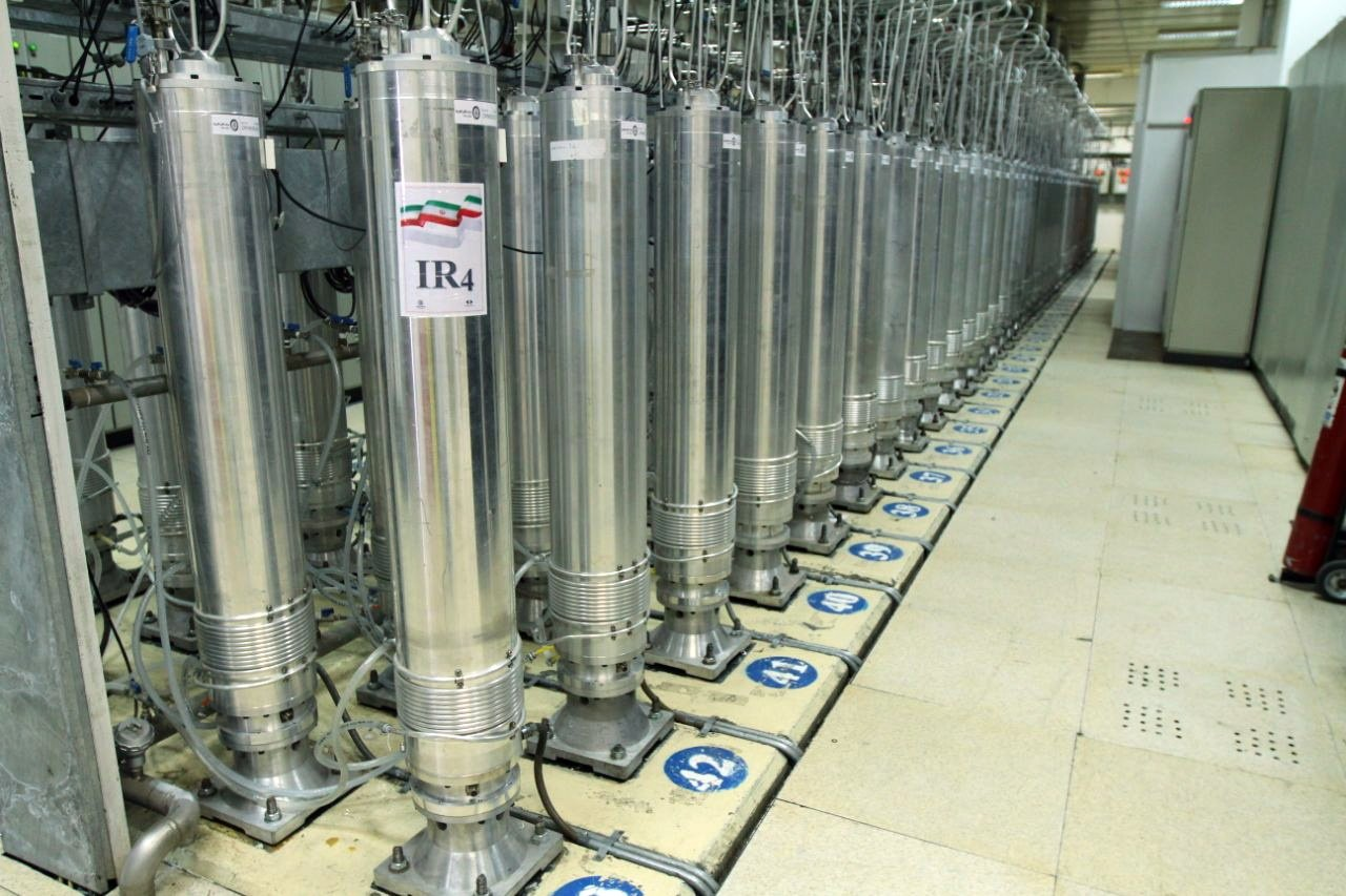 A handout photo made available by the Atomic Energy Organization (AEOI) of Iran shows centrifuge machines in the Natanz uranium enrichment facility in central Iran, 05 November 2019 (reissued 12 April 2021). (EPA/AEOI Photo)