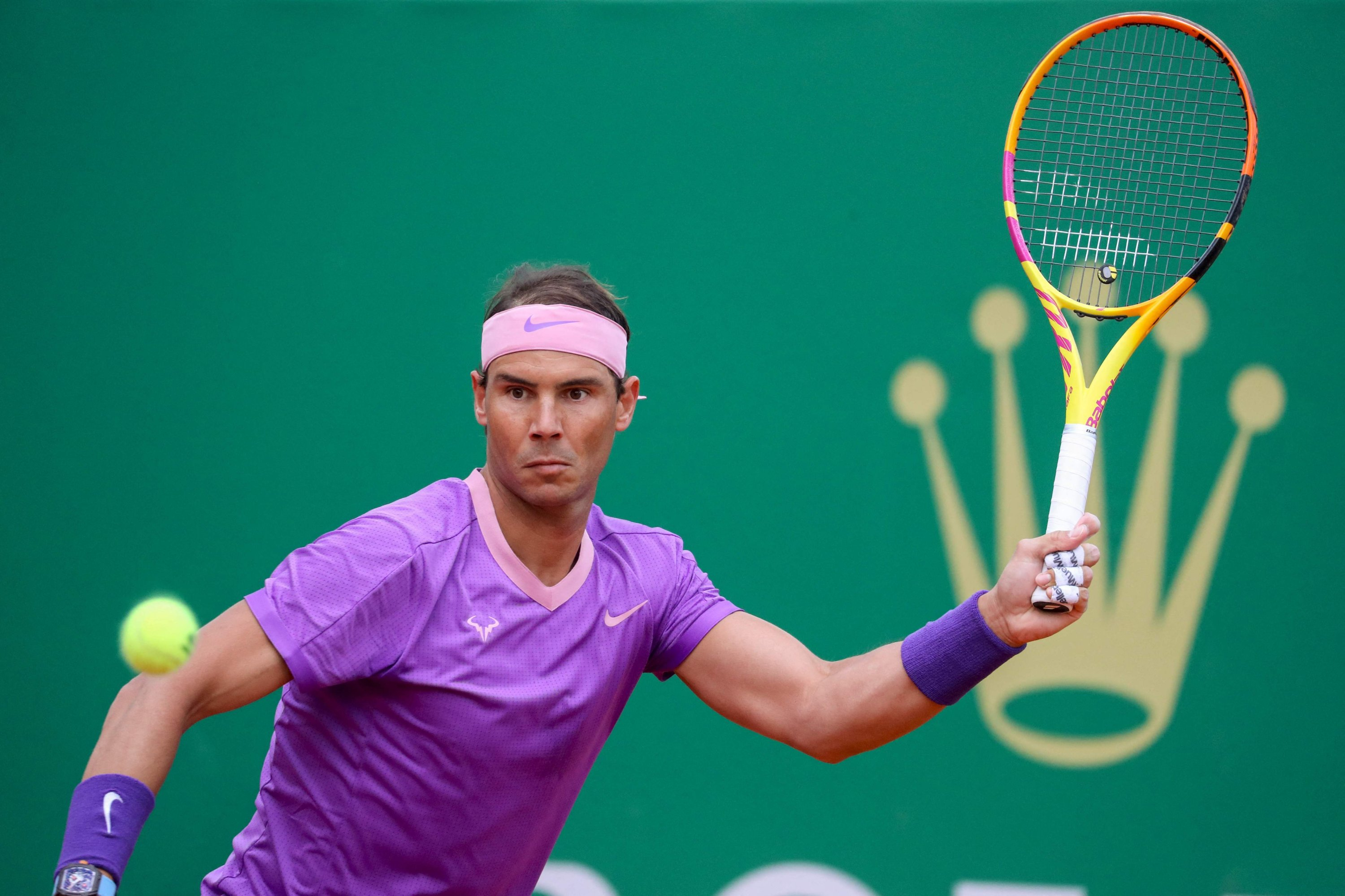 Spain's Rafael Nadal looks at the ball during his second-round singles match against Argentina's Federico Delbonisat the Monte Carlo Masters, Roquebrune Cap Martin, France, April 14, 2021. (AFP Photo)