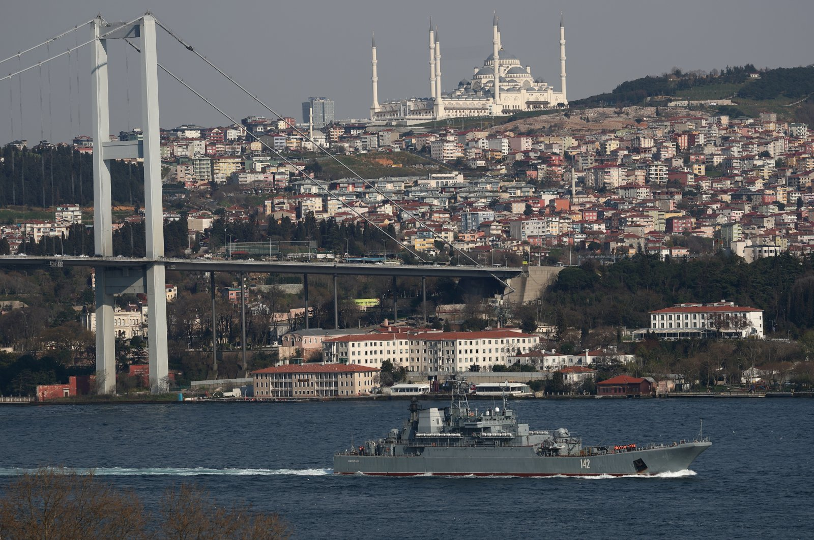 The Russian Navy's large landing ship Novocherkassk sets sail in the Bosporus on its way to the Mediterranean Sea, in Istanbul, Turkey, April 12, 2021. (Reuters Photo)