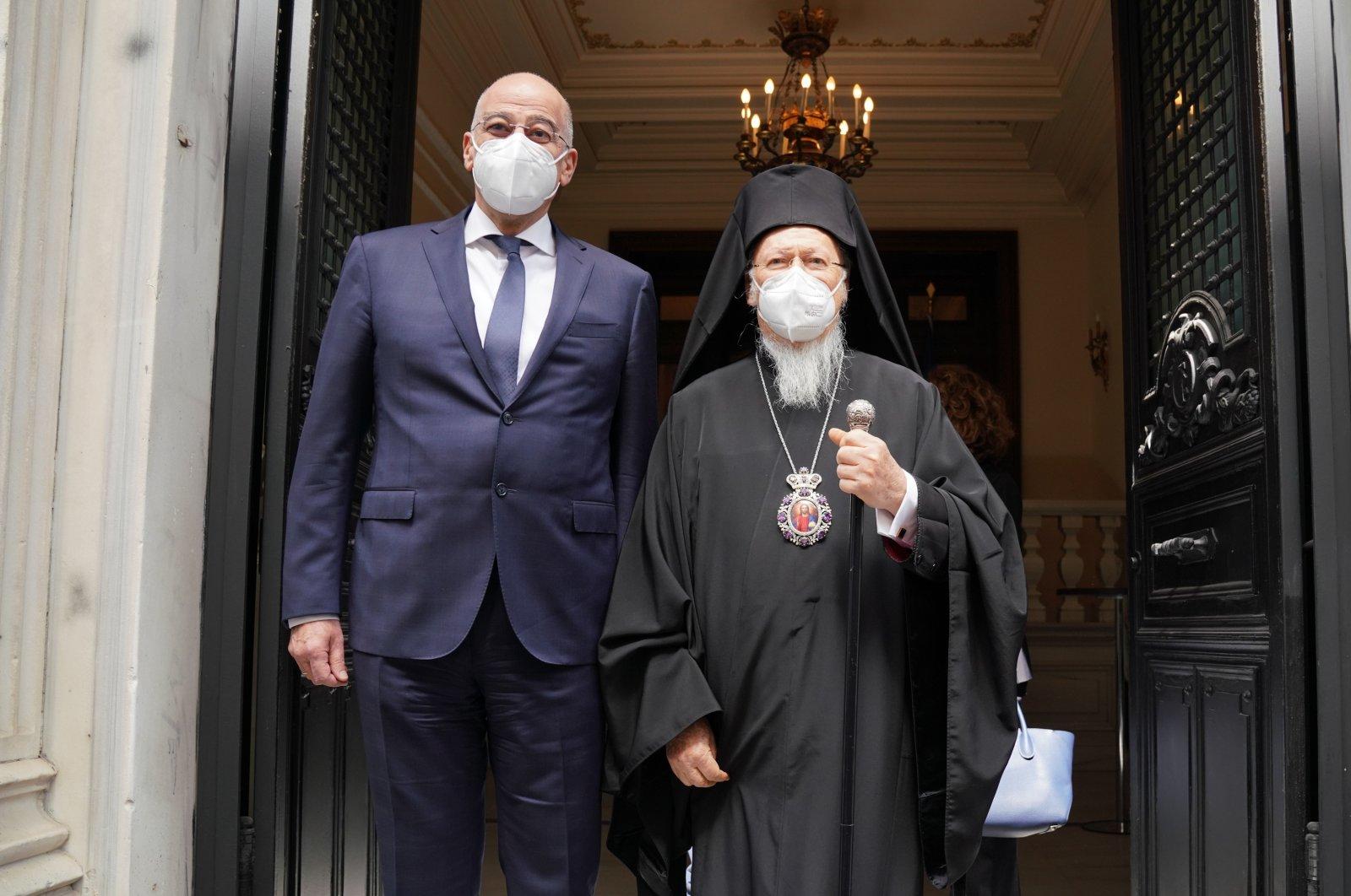 Greek Foreign Minister Nikos Dendias meets withFener Greek Orthodox PatriarchBartholomew I in Istanbul, Turkey, April 14, 2021. (DHA)