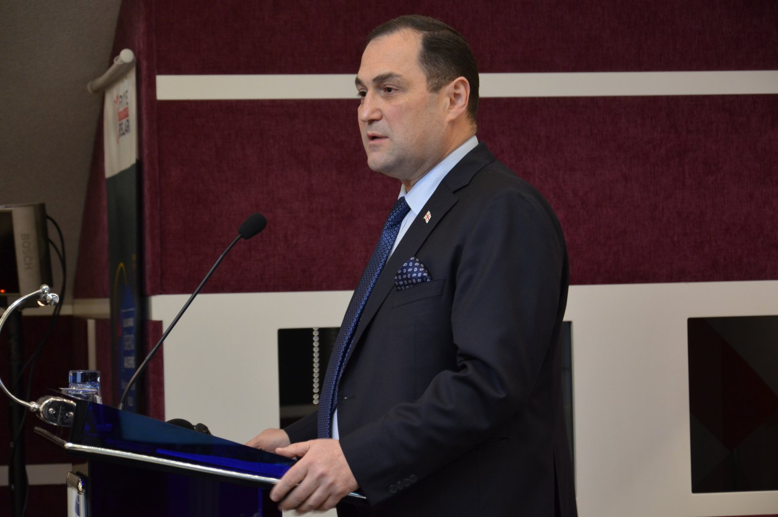 Georgia's Ambassador to Turkey George Janjgava speaking at the Strategic Thinking Institute (SDE) in Ankara, Turkey, April 13, 2021 (Courtesy of the Georgian embassy)
