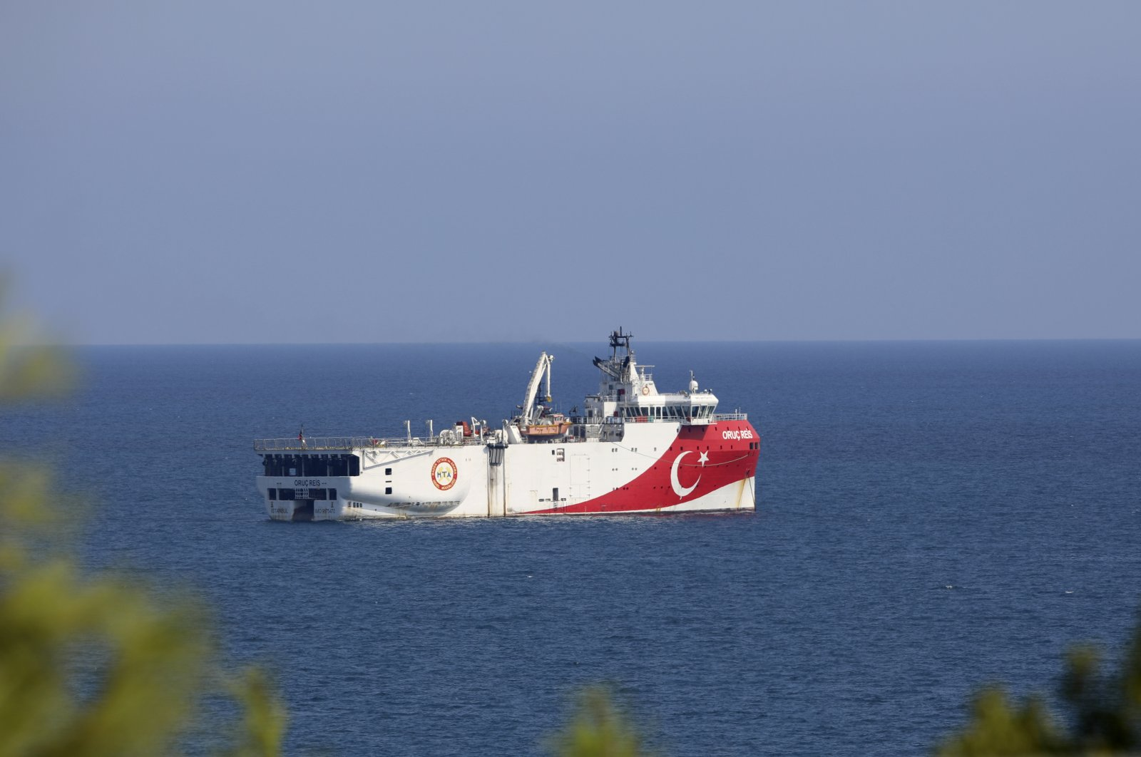 Turkey's research vessel Oruç Reis anchored in the Mediterranean off the coast of Antalya, Turkey, Sept. 13, 2020. (AP Photo)