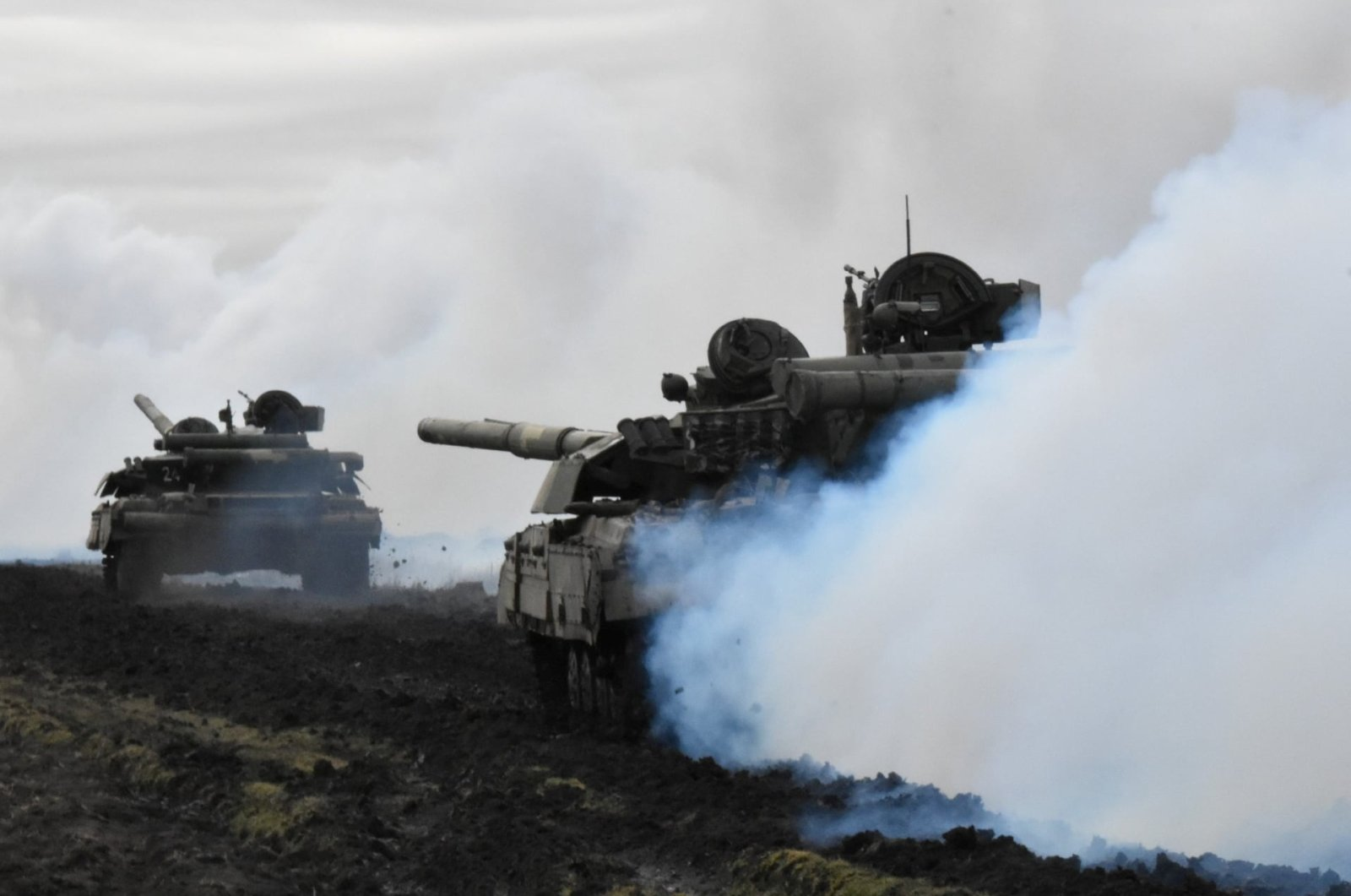 Tanks of the Ukrainian Armed Forces are seen during drills at an unknown location near the border of Russian-annexed Crimea, Ukraine, April 14, 2021. (General Staff of the Armed Forces of Ukraine press service via Reuters)