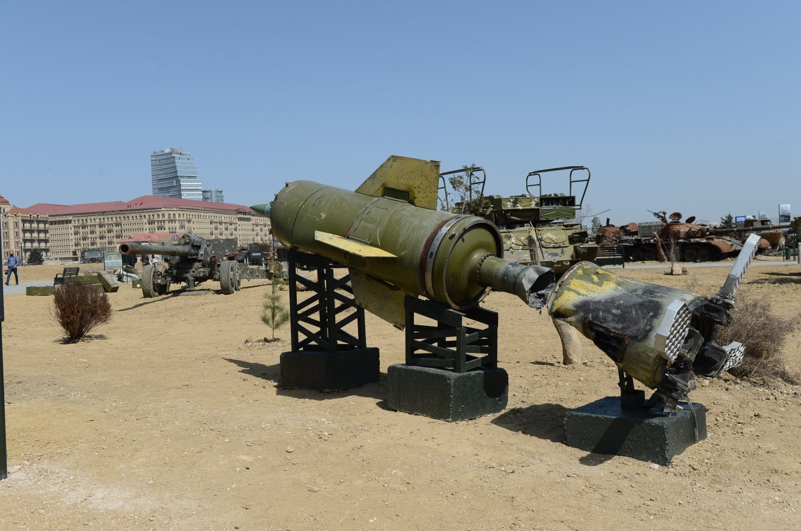 Armenian military equipment captured by Azerbaijani forces displayed in an open-air museum in Baku, Azerbaijan, April 13, 2021. (IHA)