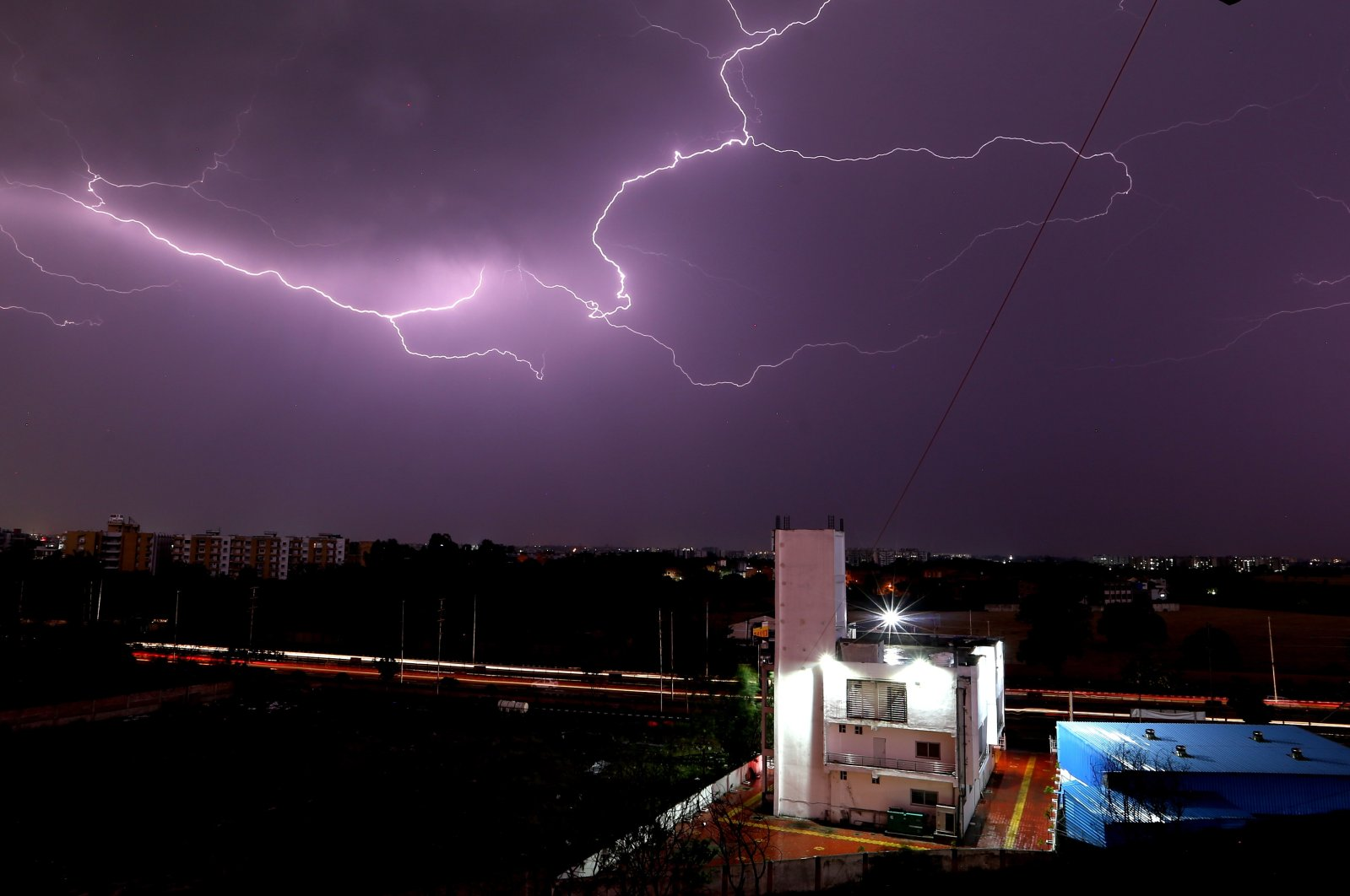 Lightning illuminates the sky during a thunderstorm in Bhopal, India, March 19, 2021. (EPA Photo)