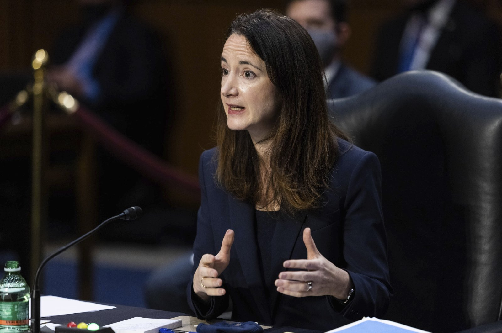 Director Avril Haines of the Office of the Director of National Intelligence (ODNI) testifies during a Senate Select Committee on Intelligence hearing about worldwide threats, on Capitol Hill in Washington, D.C., U.S., Wednesday, April 14, 2021. (AP Photo)