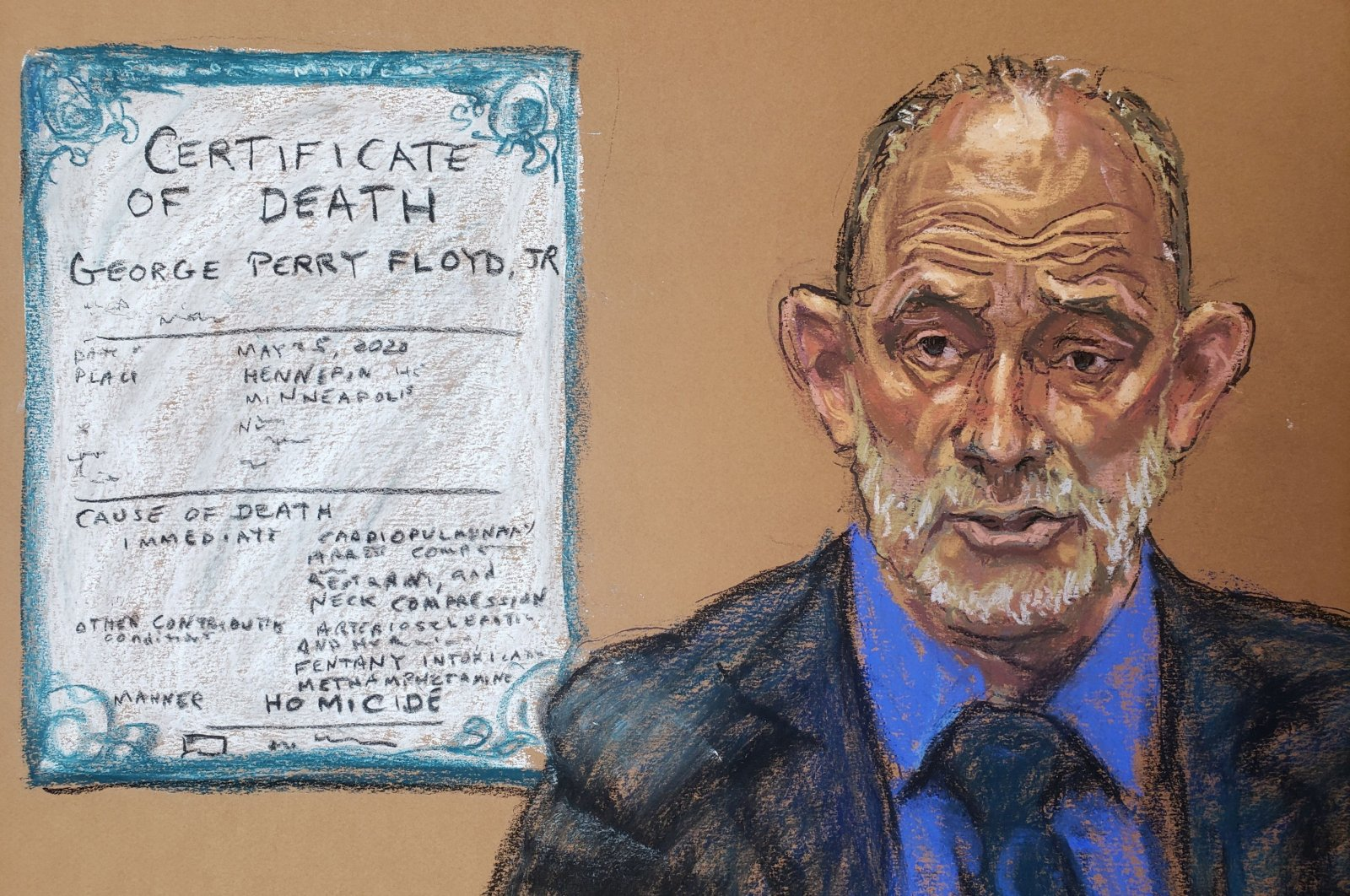 Dr. David Fowleranswers questions on the 13thday of former Minneapolis police officer Derek Chauvin's trial in Minneapolis, Minnesota, U.S.,  April 14, 2021. (Courtroom sketch via Reuters)