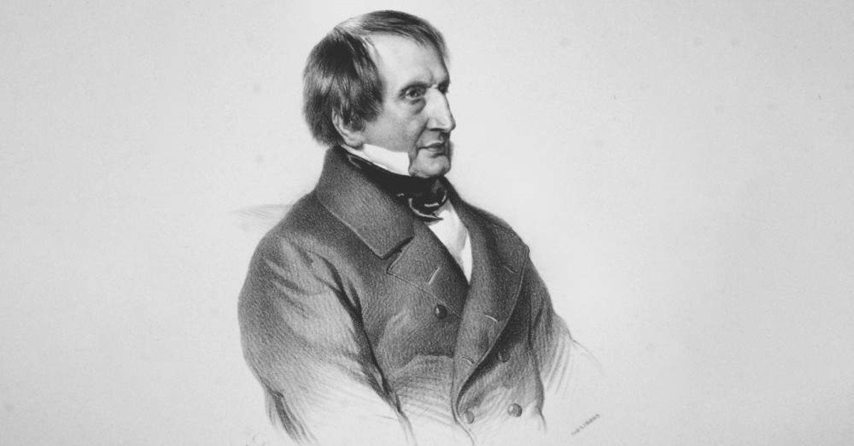 A lithograph by Austrian painter Adolf Dauthage depicts Joseph von Hammer, 1852.