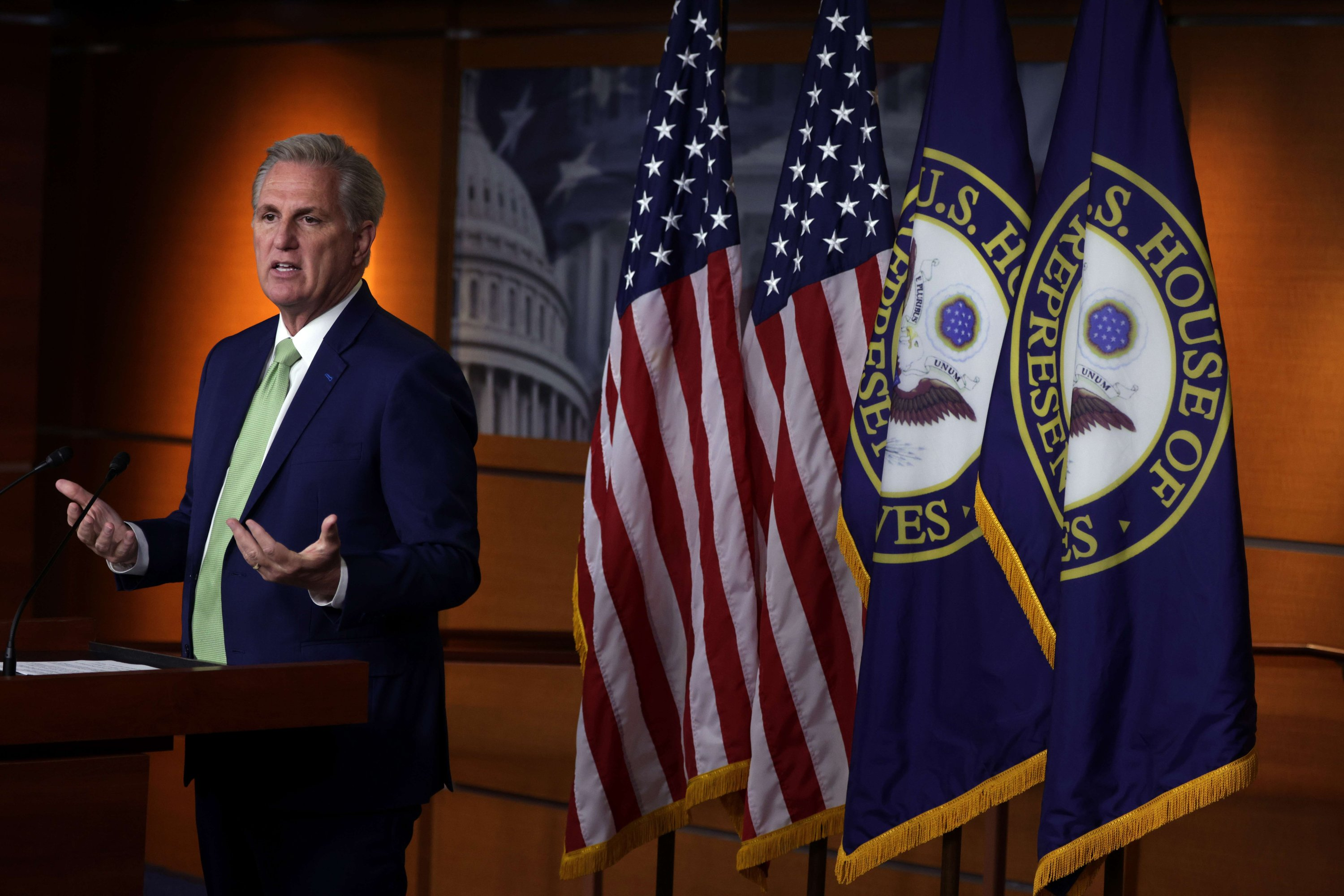 U.S. House Minority Leader Rep. Kevin McCarthy (R-CA) speaks during a weekly news conference at the U.S. Capitol in Washington, D.C., the U.S., April 15, 2021. (AFP Photo)