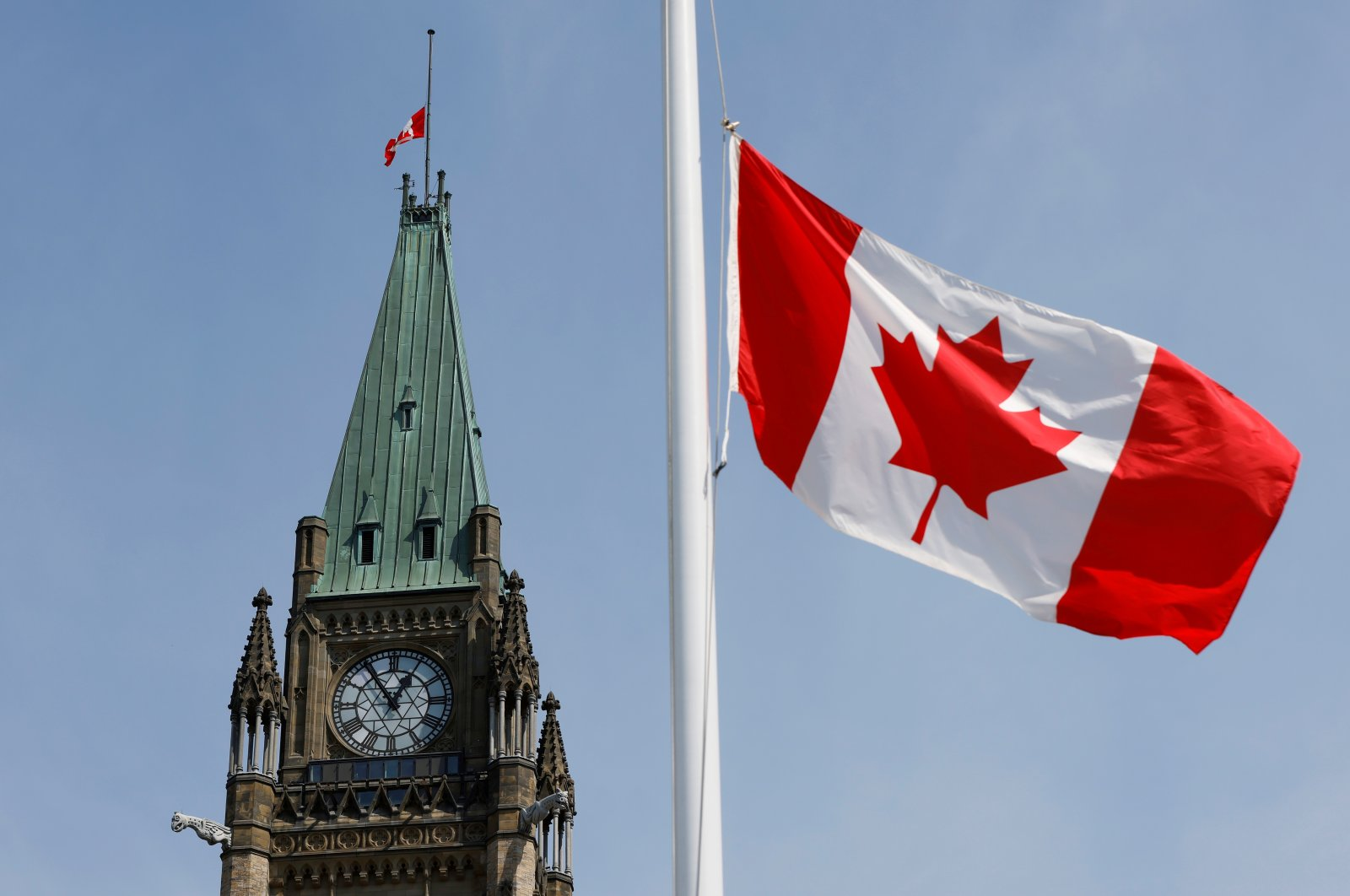 Canadian flags fly on Parliament Hill in Ottawa, Ontario, Canada, April 9, 2021. (Reuters Photo)