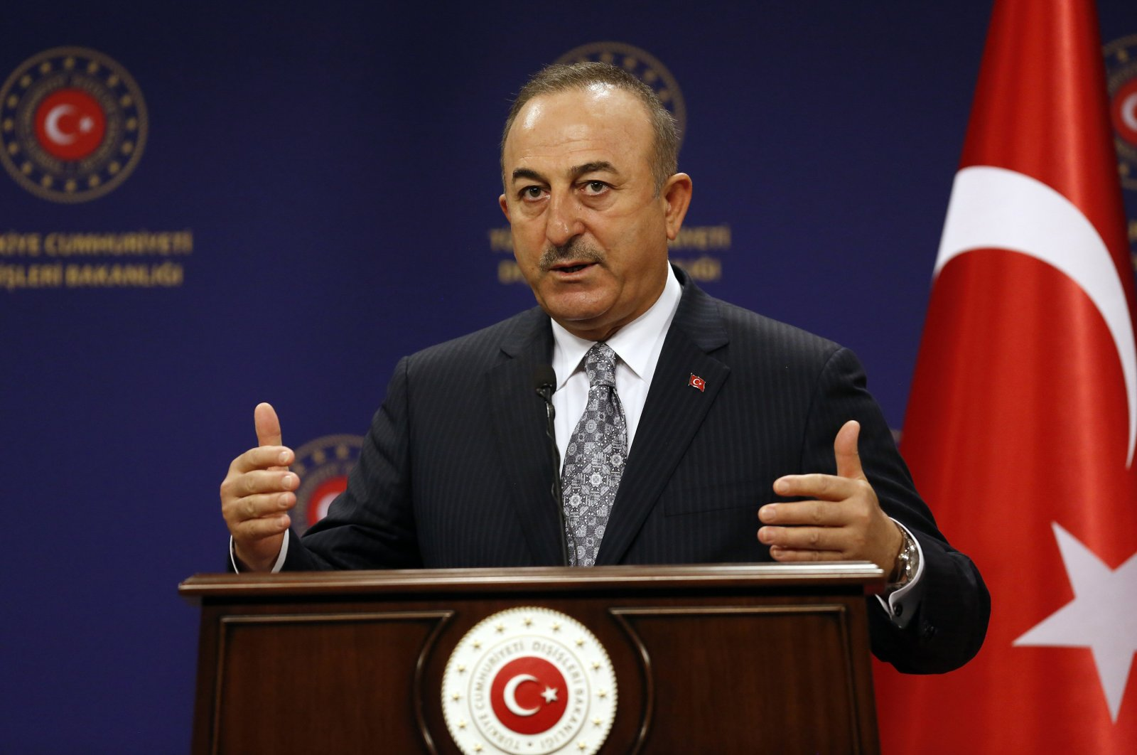 FM Çavuşoğlu speaks at a news conference with Iraqi counterpart in Ankara, Dec. 21, 2021. (AA File Photo)