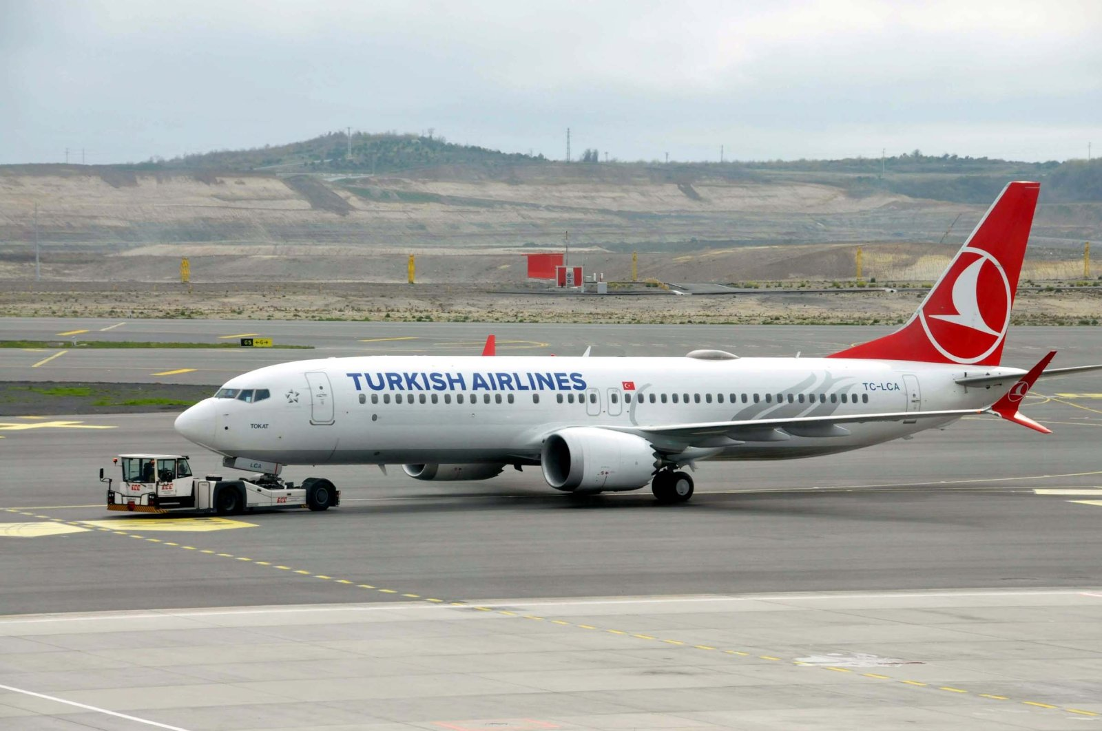 A Turkish Airlines Boeing 737 Max aircraft is seen at Istanbul Airport, Turkey, April 15, 2021. (DHA Photo)
