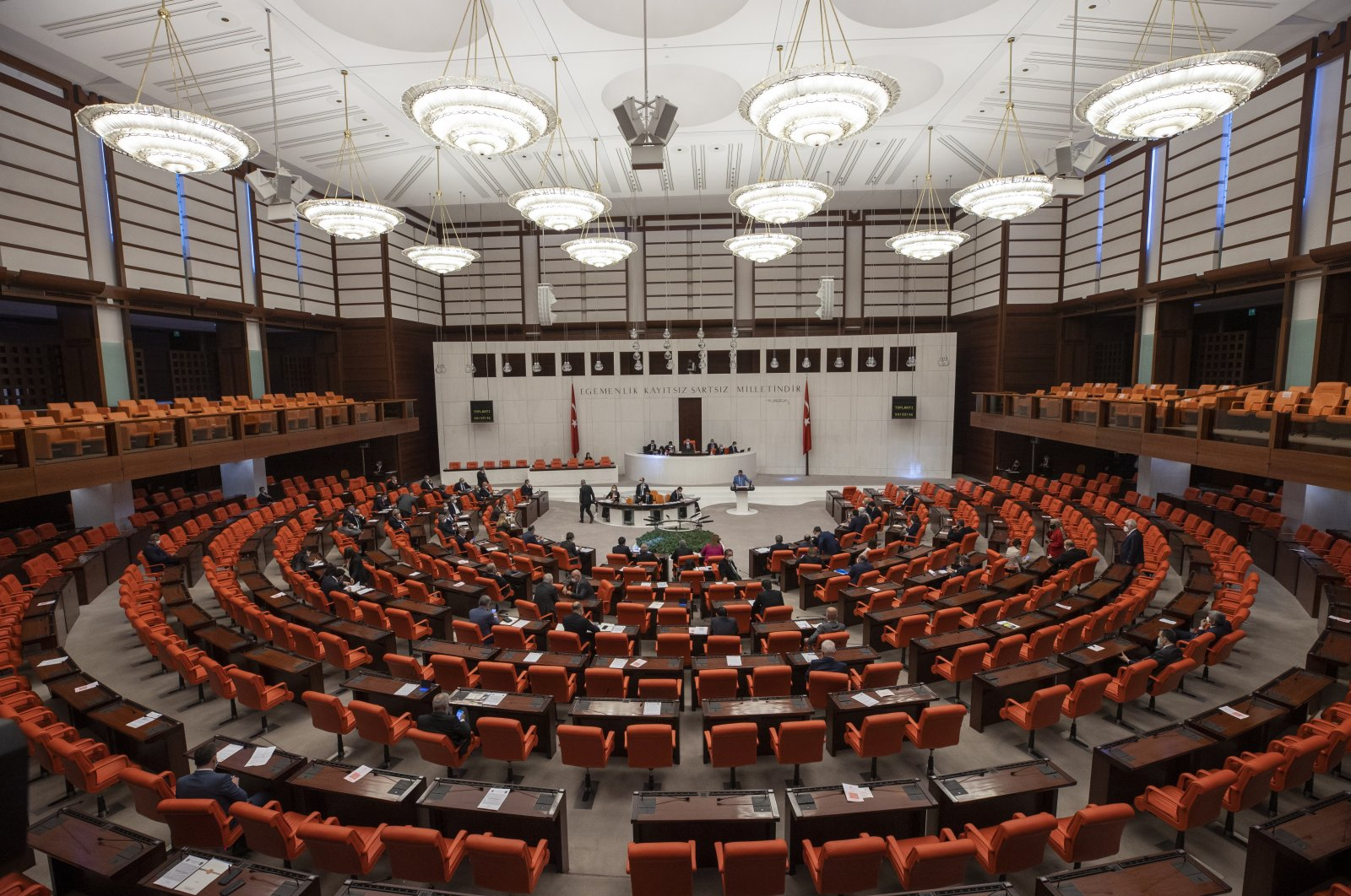 A panoramic view of the inside the Turkish Grand National Assembly (TBMM), Ankara, Turkey, April 14, 2021. (AA Photo)
