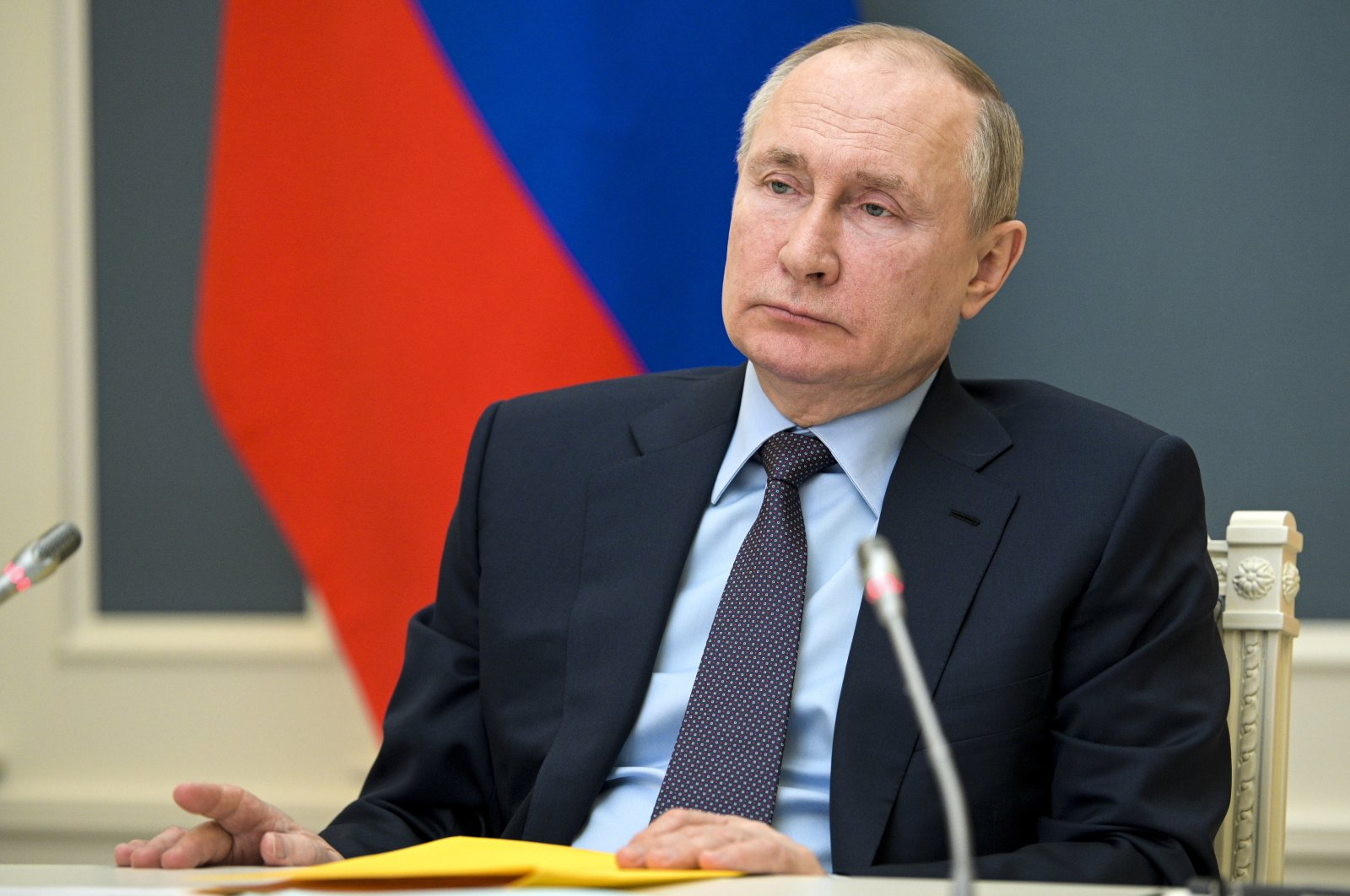 Russian President Vladimir Putin attends a session of the Russian Geographical Society via video link in Moscow, Russia, April 14, 2021. (AP Photo)