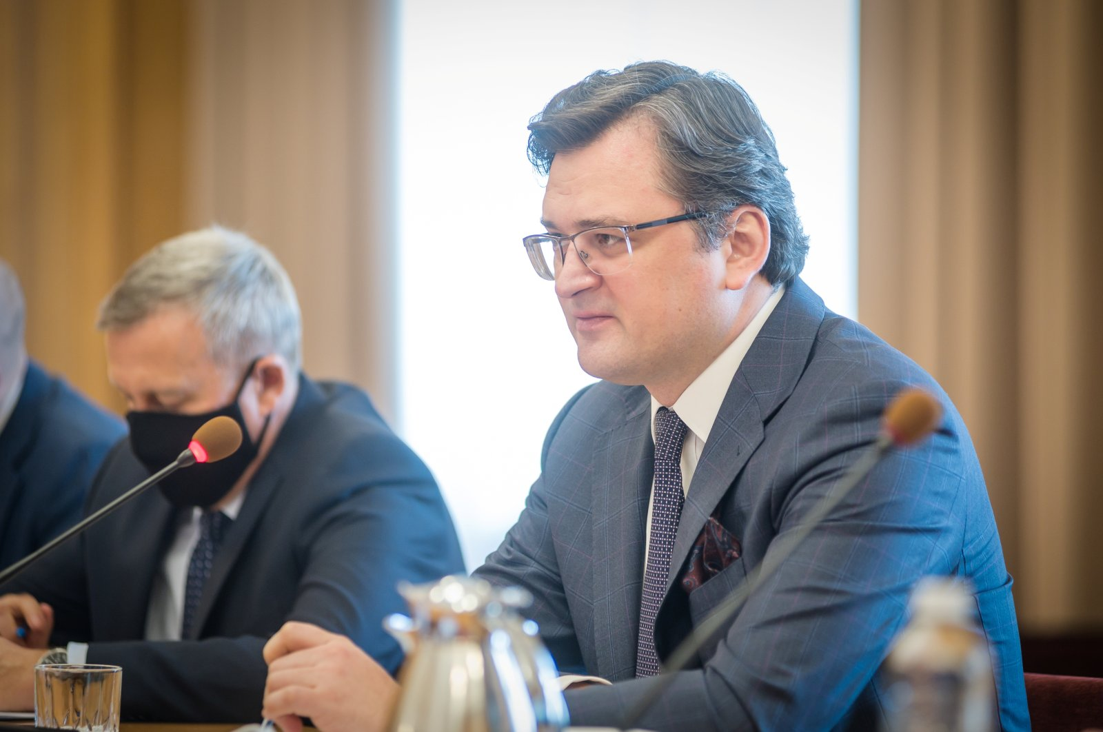 Ukrainian Foreign Minister Dmytro Kuleba attends a meeting with his Polish counterpart Zbigniew Rau in Kyiv, Ukraine, April 8, 2021. (Reuters Photo)