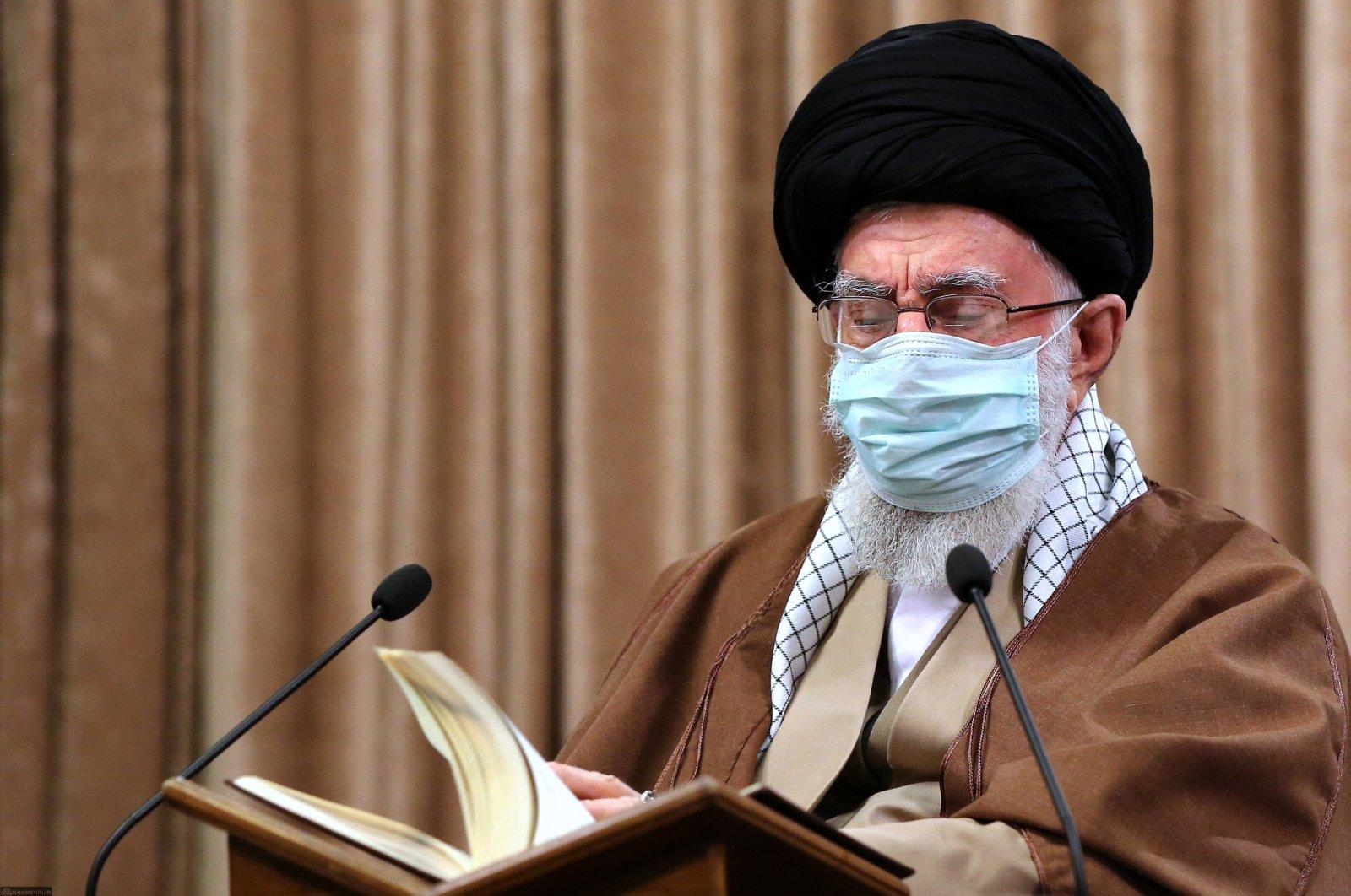 Iran's Supreme Leader Ayatollah Ali Khamenei attends a Quran Recitation Ceremony on the first day of the Muslim holy month of Ramadan in Iran, on April 14, 2021. (KHAMENEI.IR via AFP)