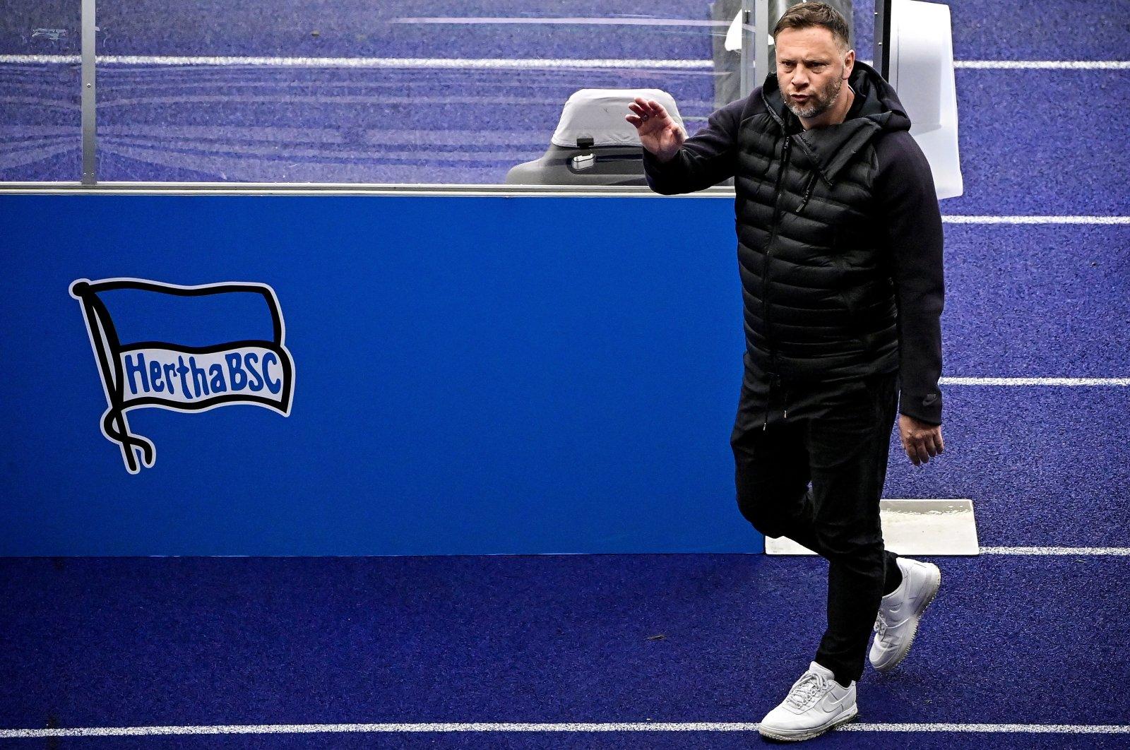 Hertha's head coach Pal Dardai reacts after a Bundesliga match against Borussia Moenchengladbach, Berlin, Germany, April 10, 2021. (EPA Photo)