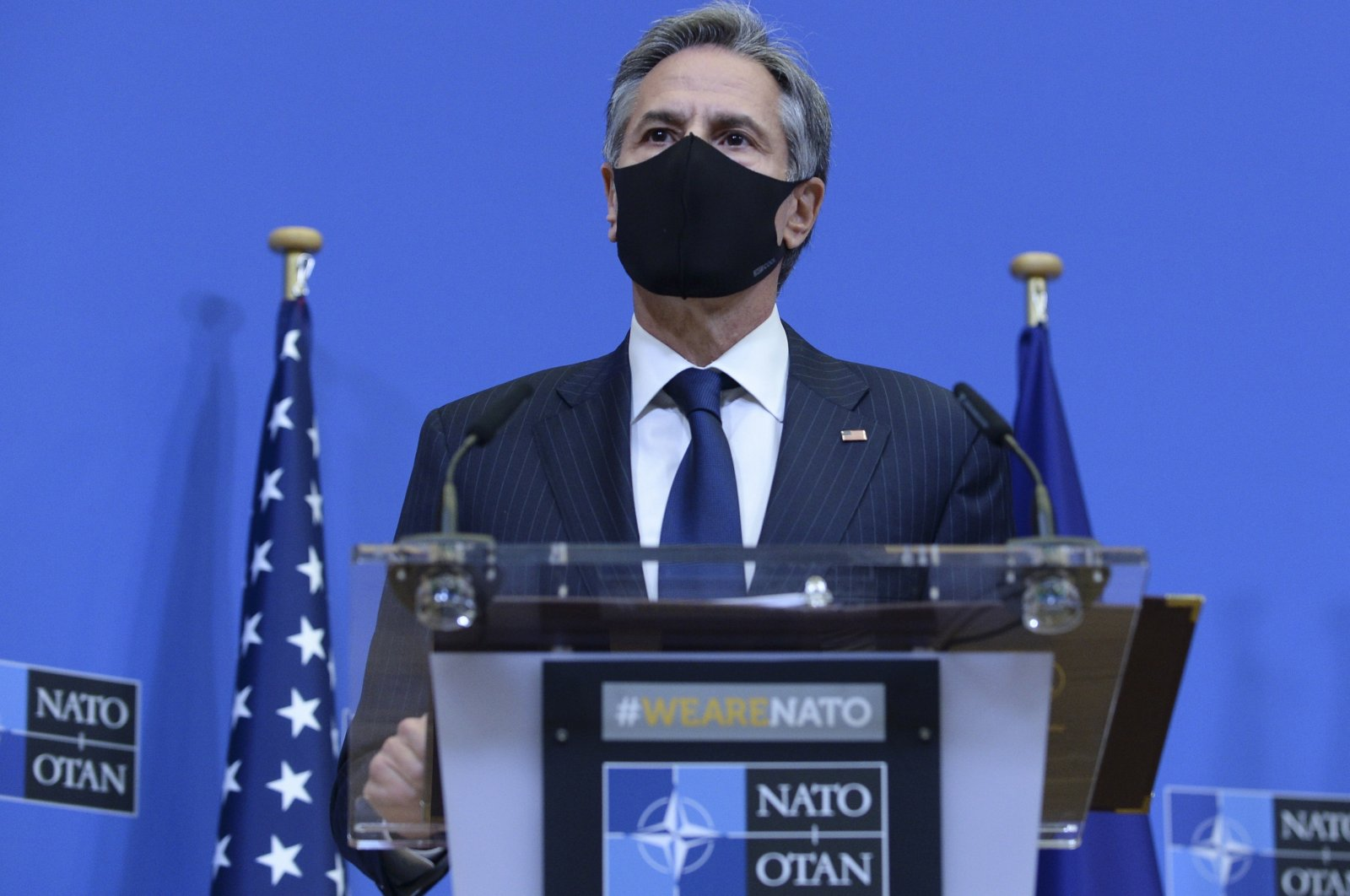 U.S. Secretary of State Antony Blinken speaks during a media conference at NATO headquarters in Brussels, Belgium, Wednesday, April 14, 2021. (AP Photo)
