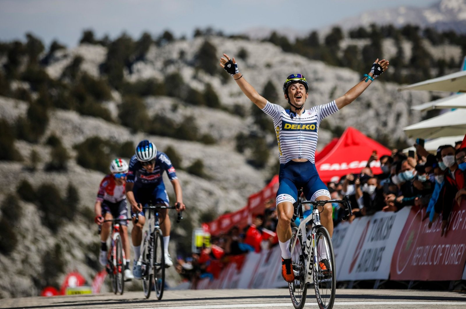 Spanish rider Jose Manuel Diaz celebrates winning the 160.3-kilometerfifth stage of the 56th Presidential Cycling Tour of Turkey, Elmalı, southern Turkey, April 15, 2021.