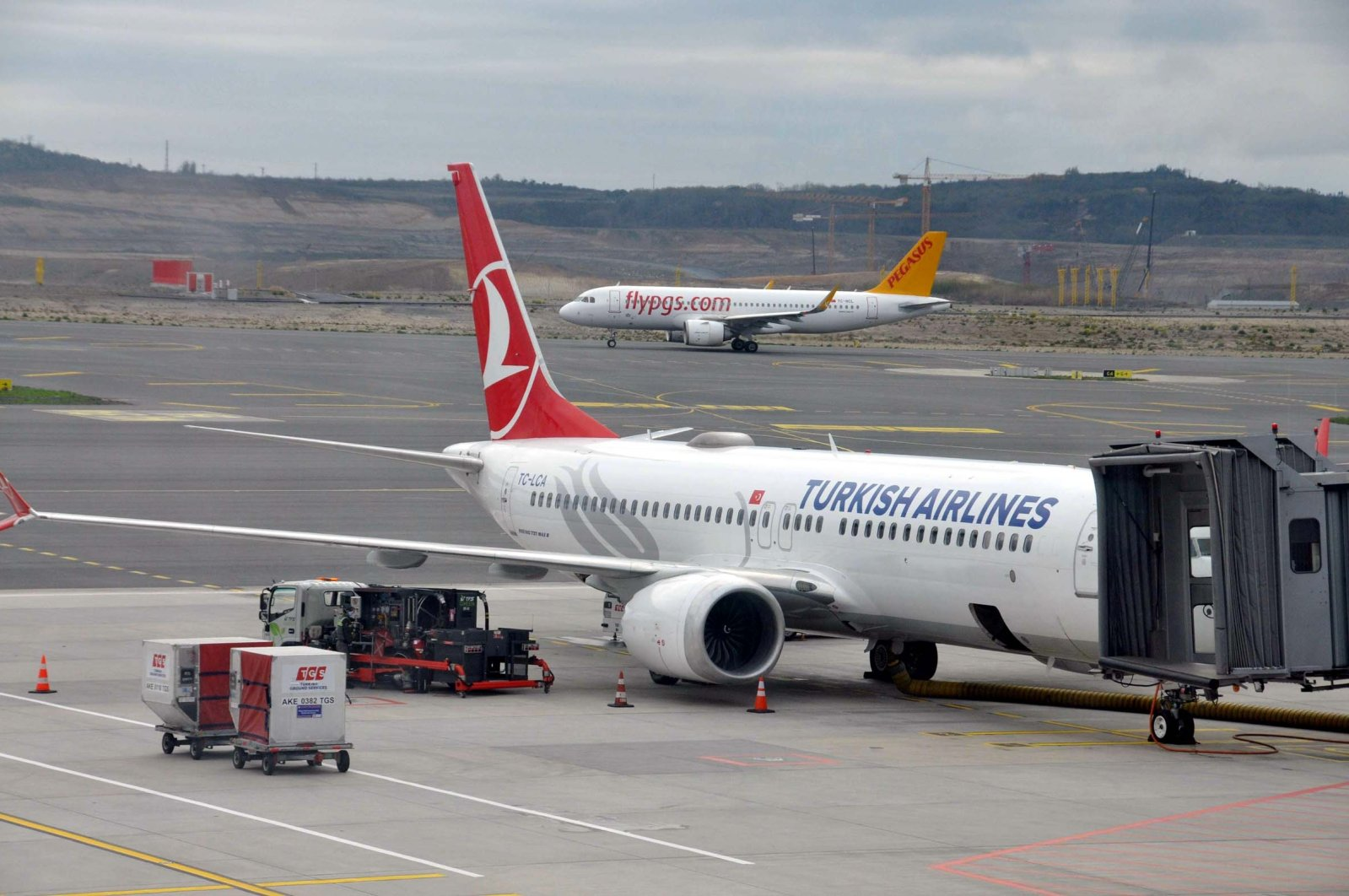 A Turkish Airlines Boeing 737 Max aircraft at Istanbul Airport, Istanbul, Turkey, April 15, 2021. (DHA Photo)