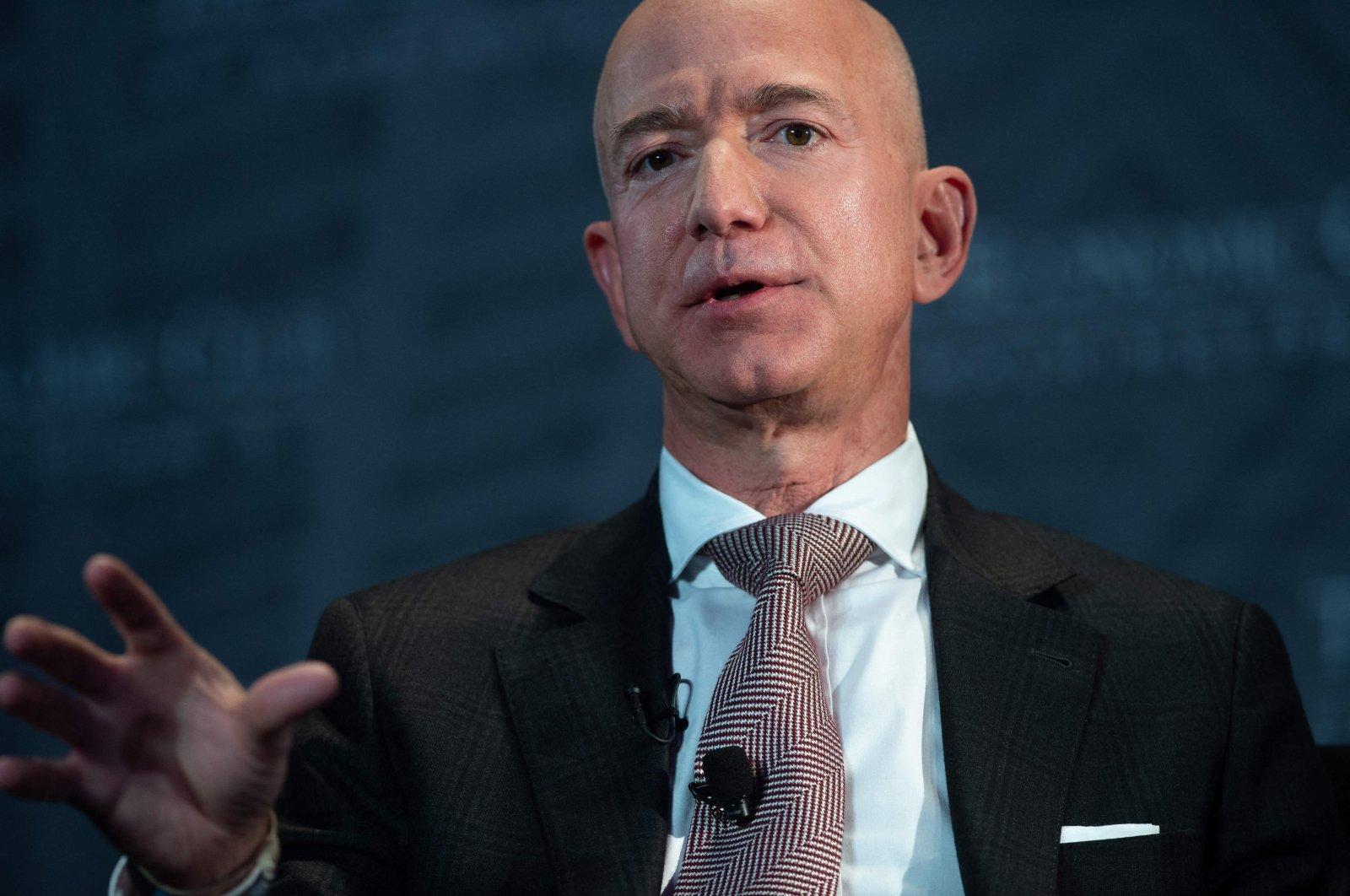 Jeff Bezos, founder and CEO of Amazon, speaks during the Economic Club of Washington's Milestone Celebration event in Washington, D.C., the U.S., Sept. 13, 2018. (AFP Photo)